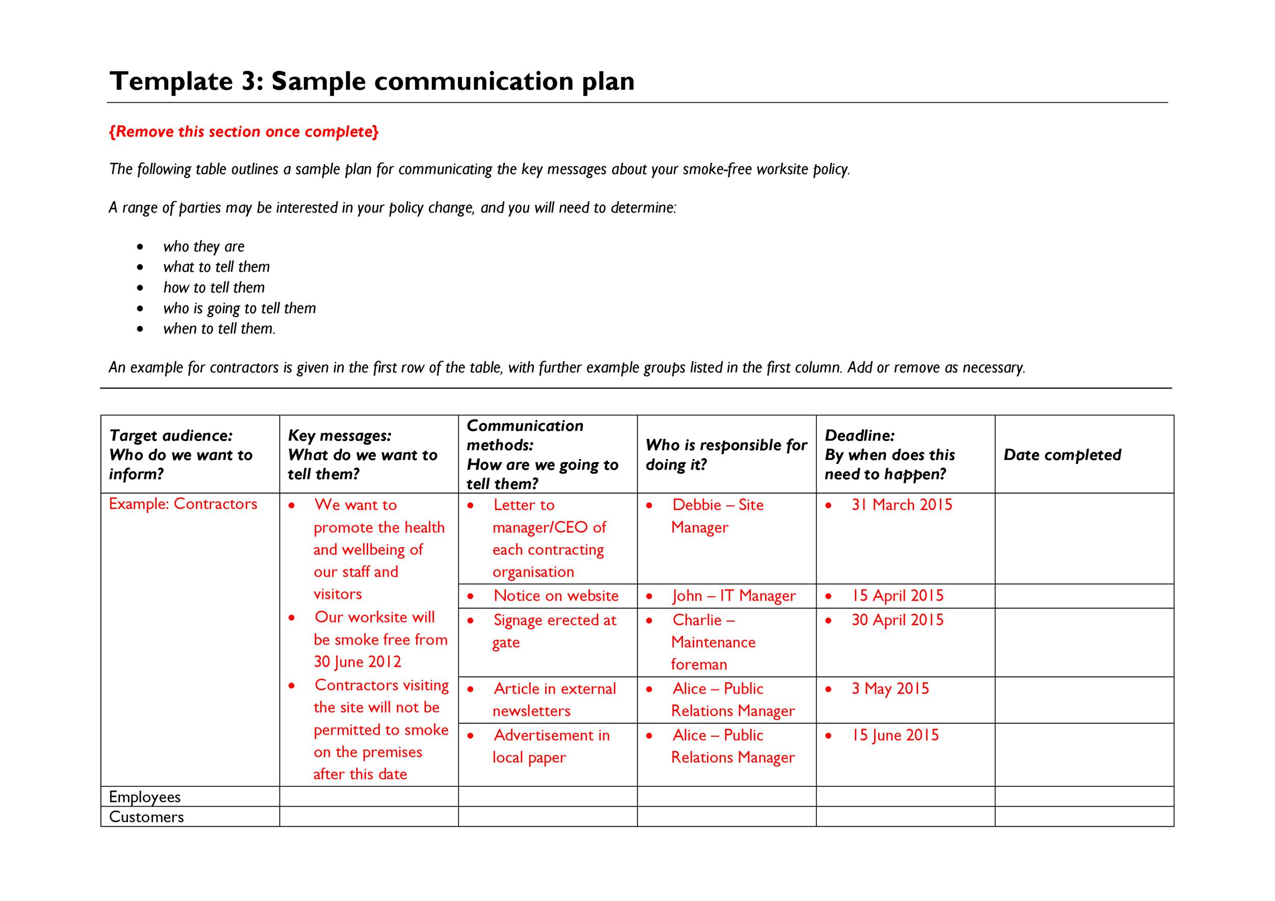 Free Communication Plan Template 30