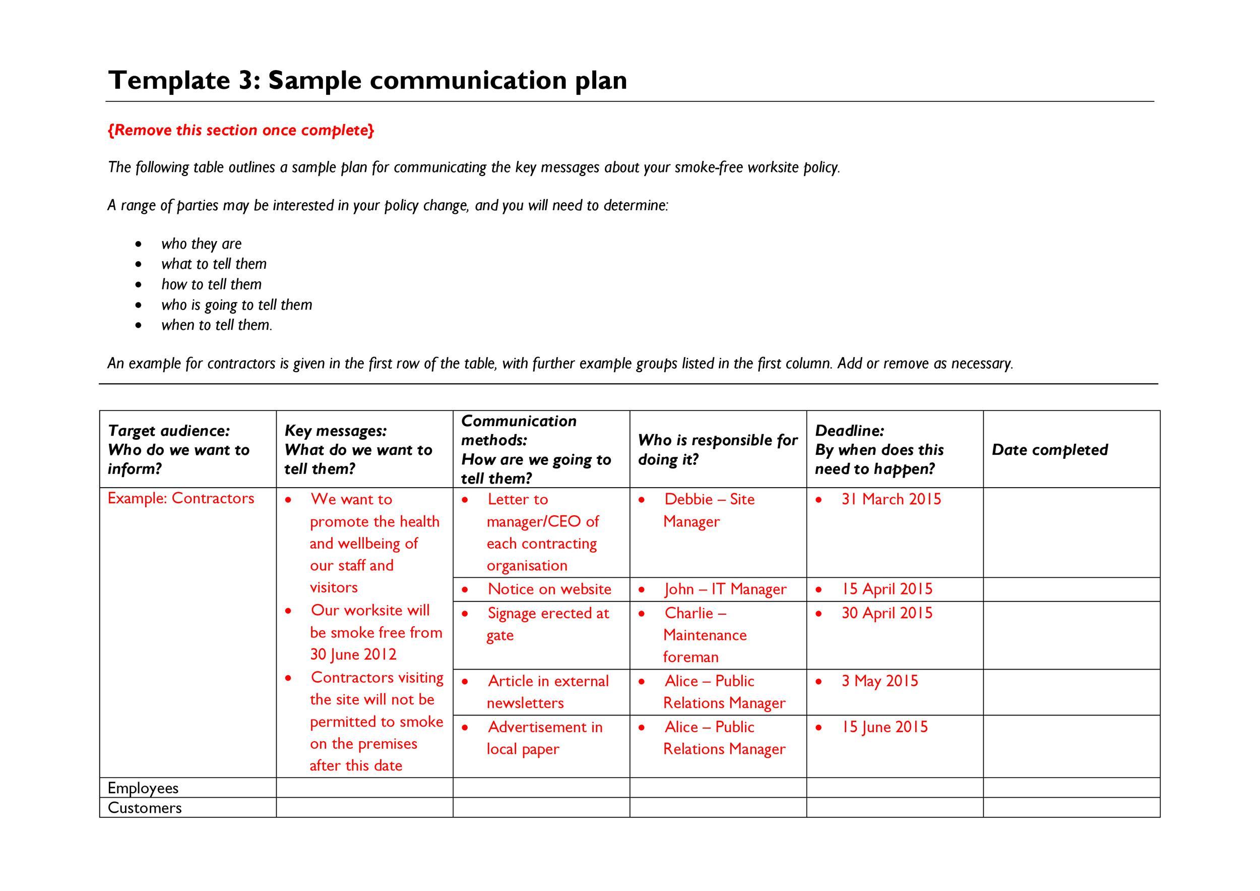 Free Communication Plan Template 30