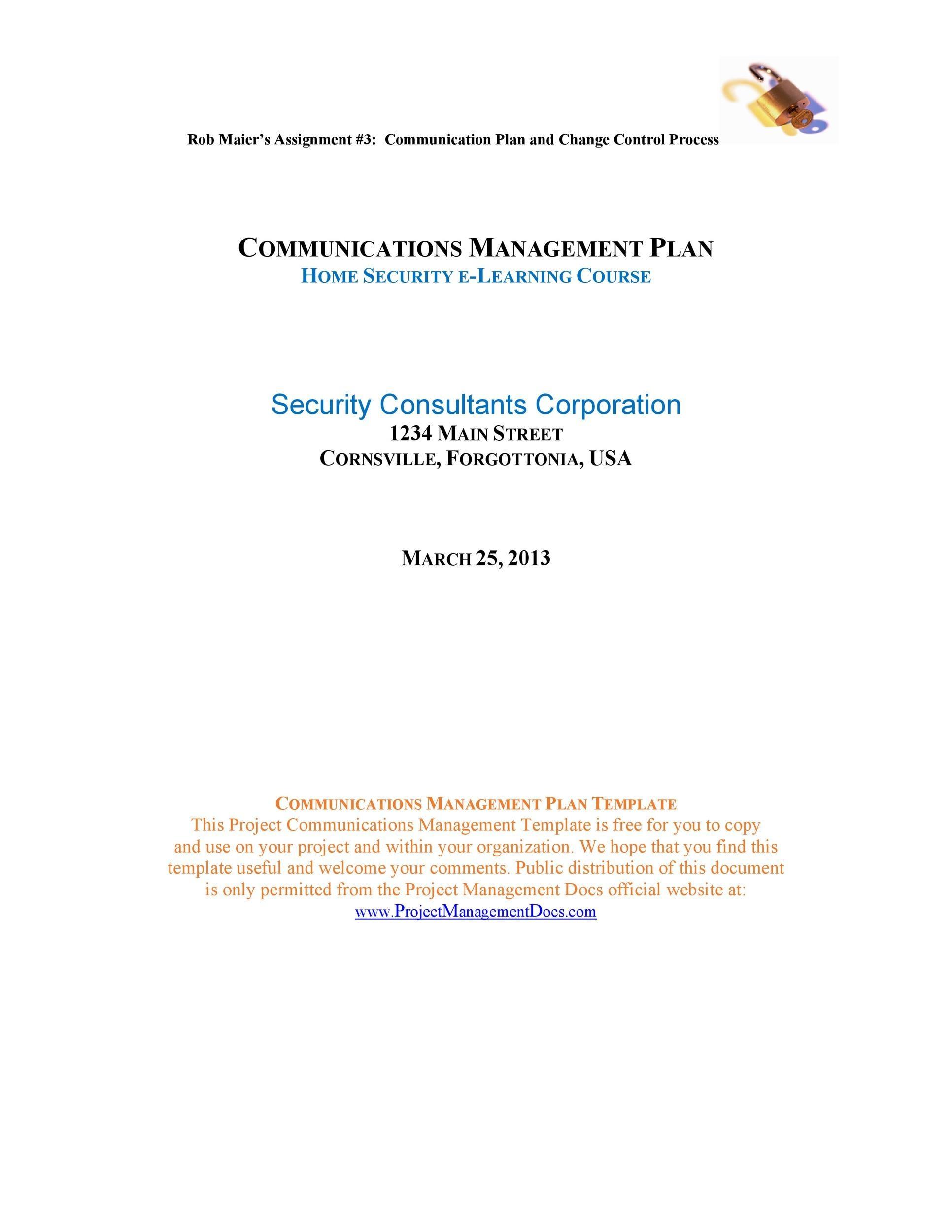 Free Communication Plan Template 36