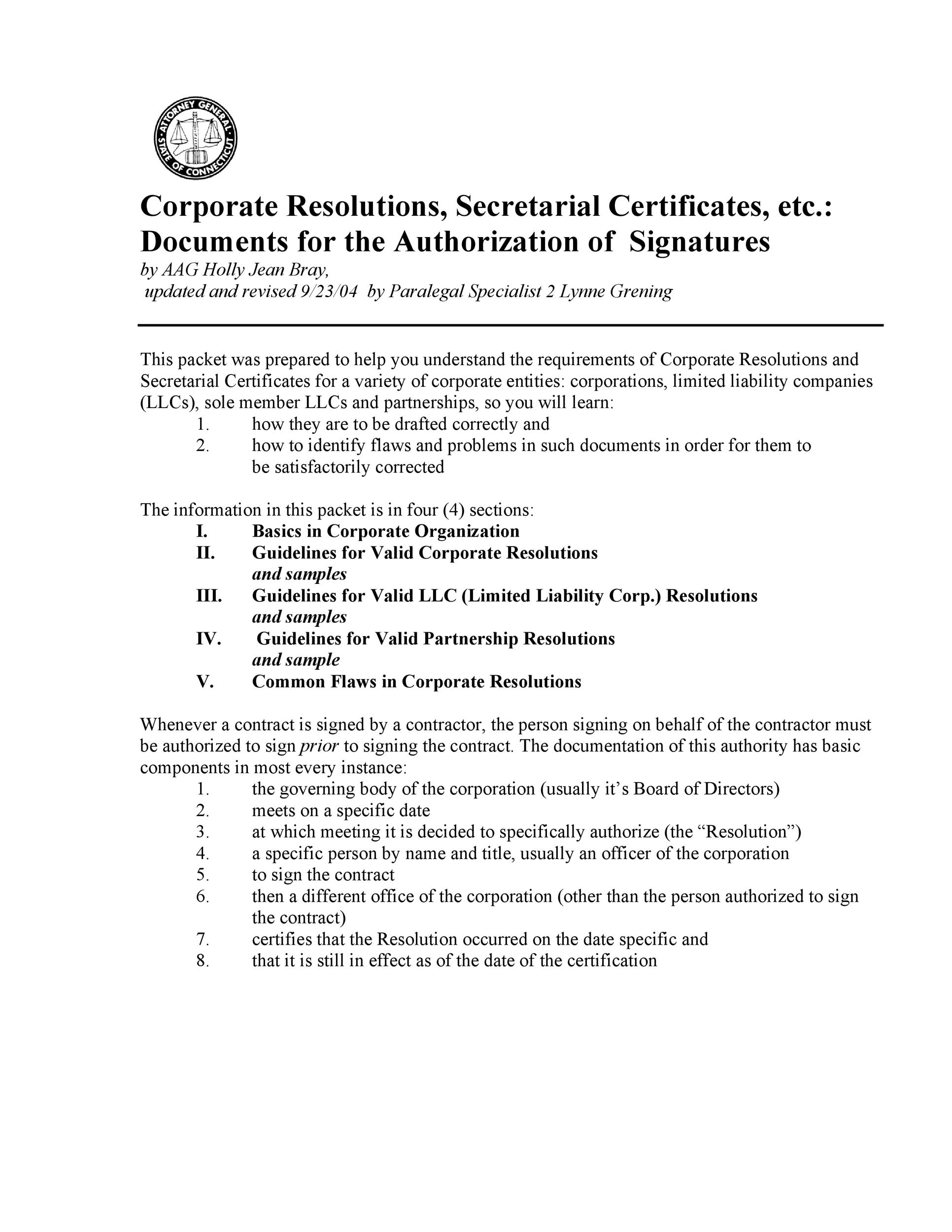 Free Corporate Resolution Form 04