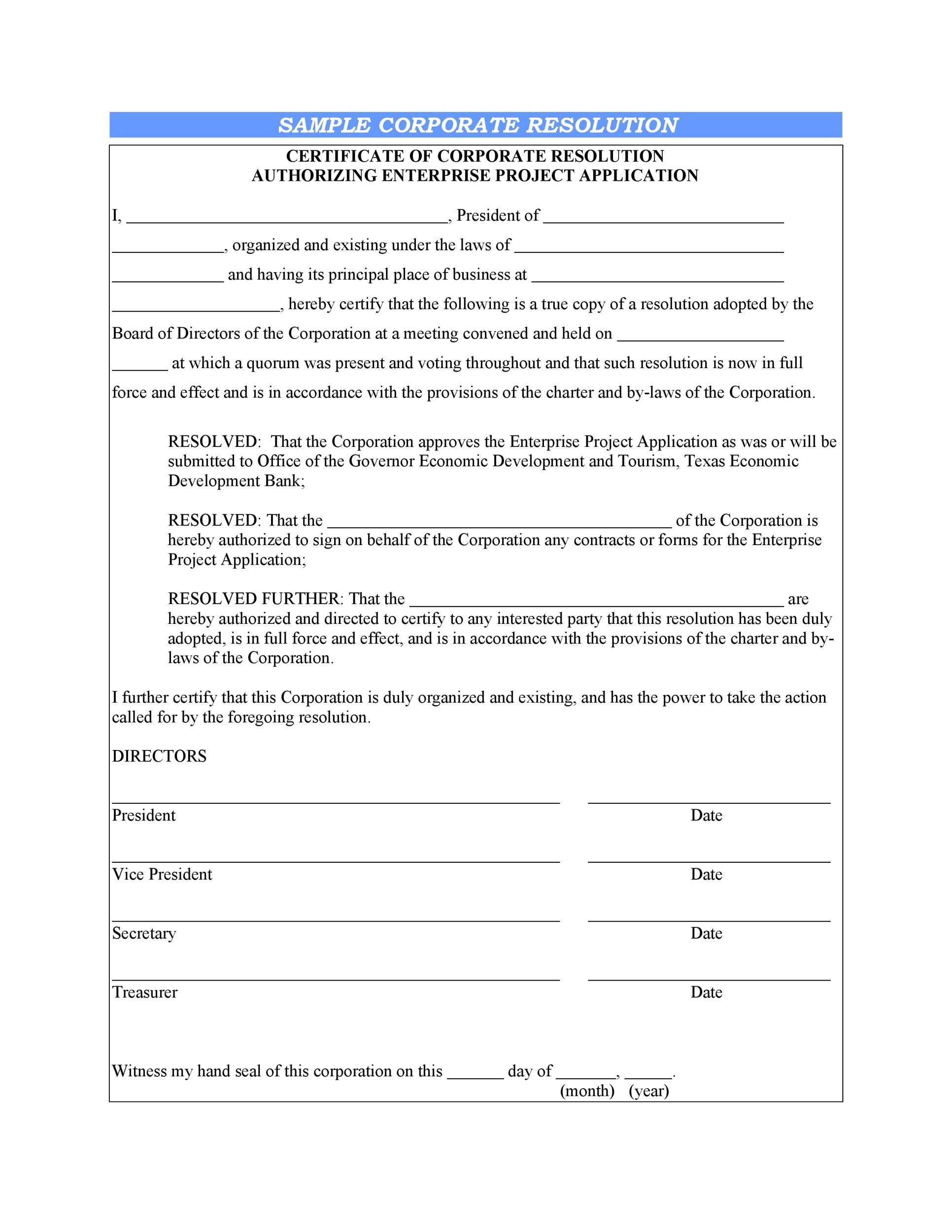 Free Corporate Resolution Form 05