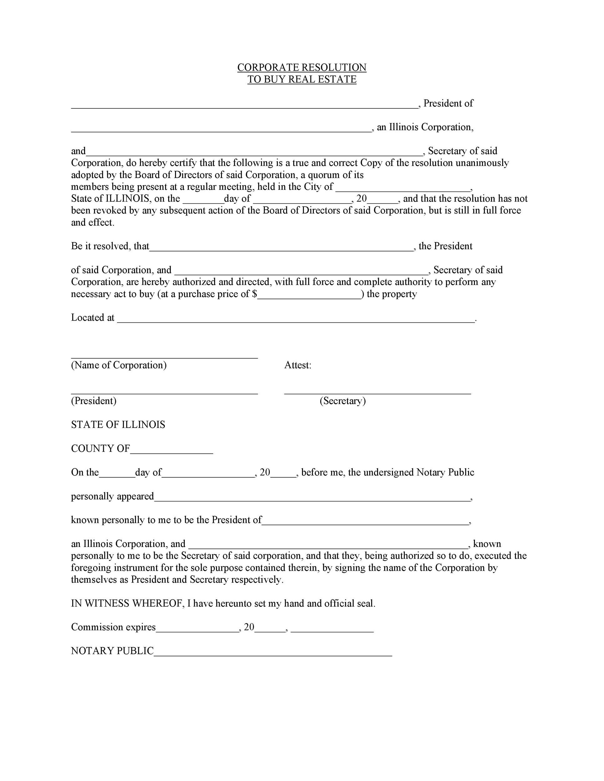 Free Corporate Resolution Form 06