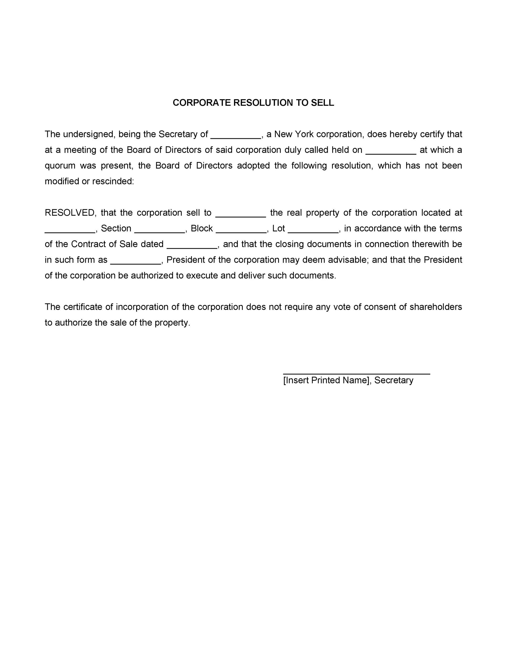 Free Corporate Resolution Form 07
