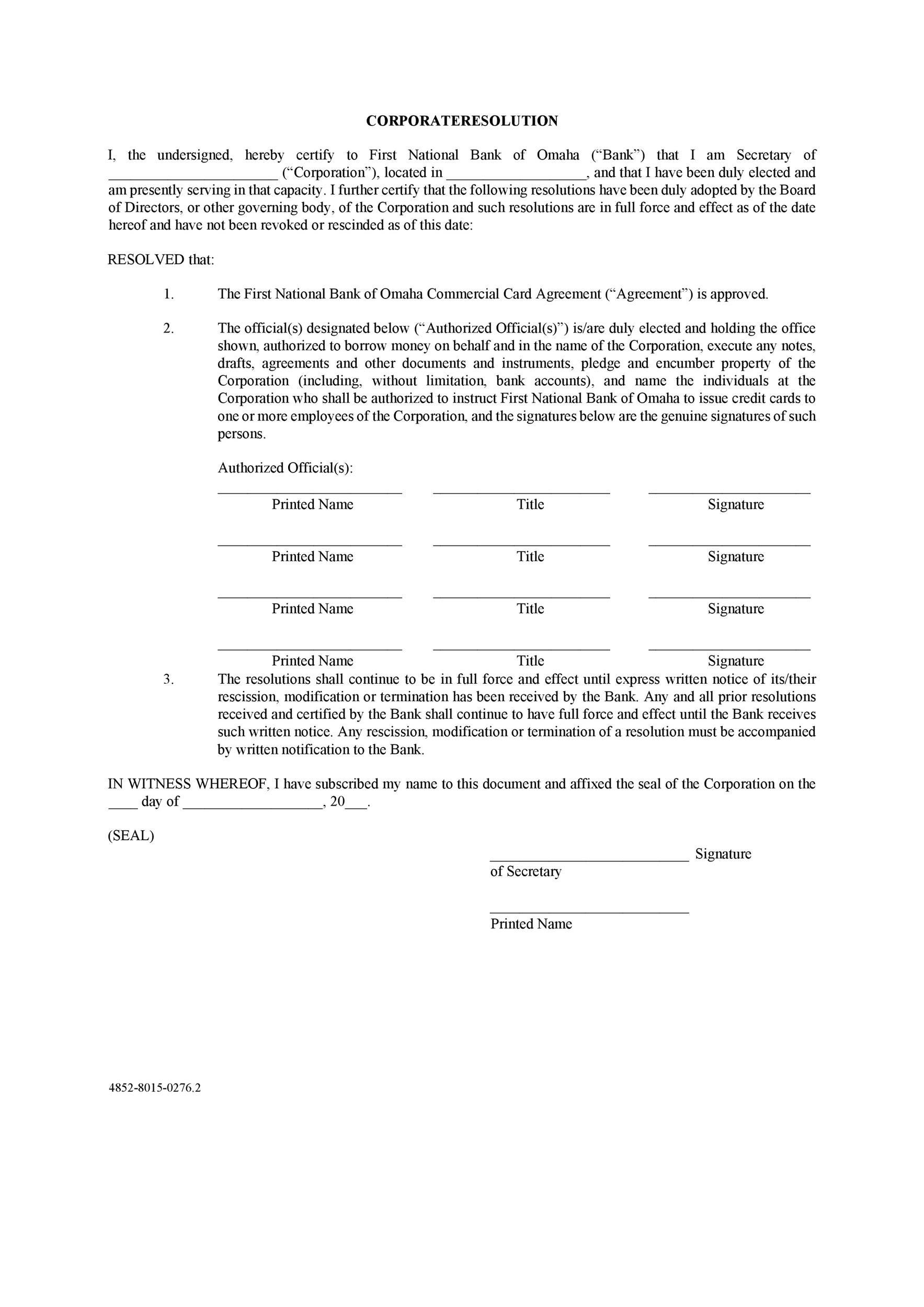 Free Corporate Resolution Form 09