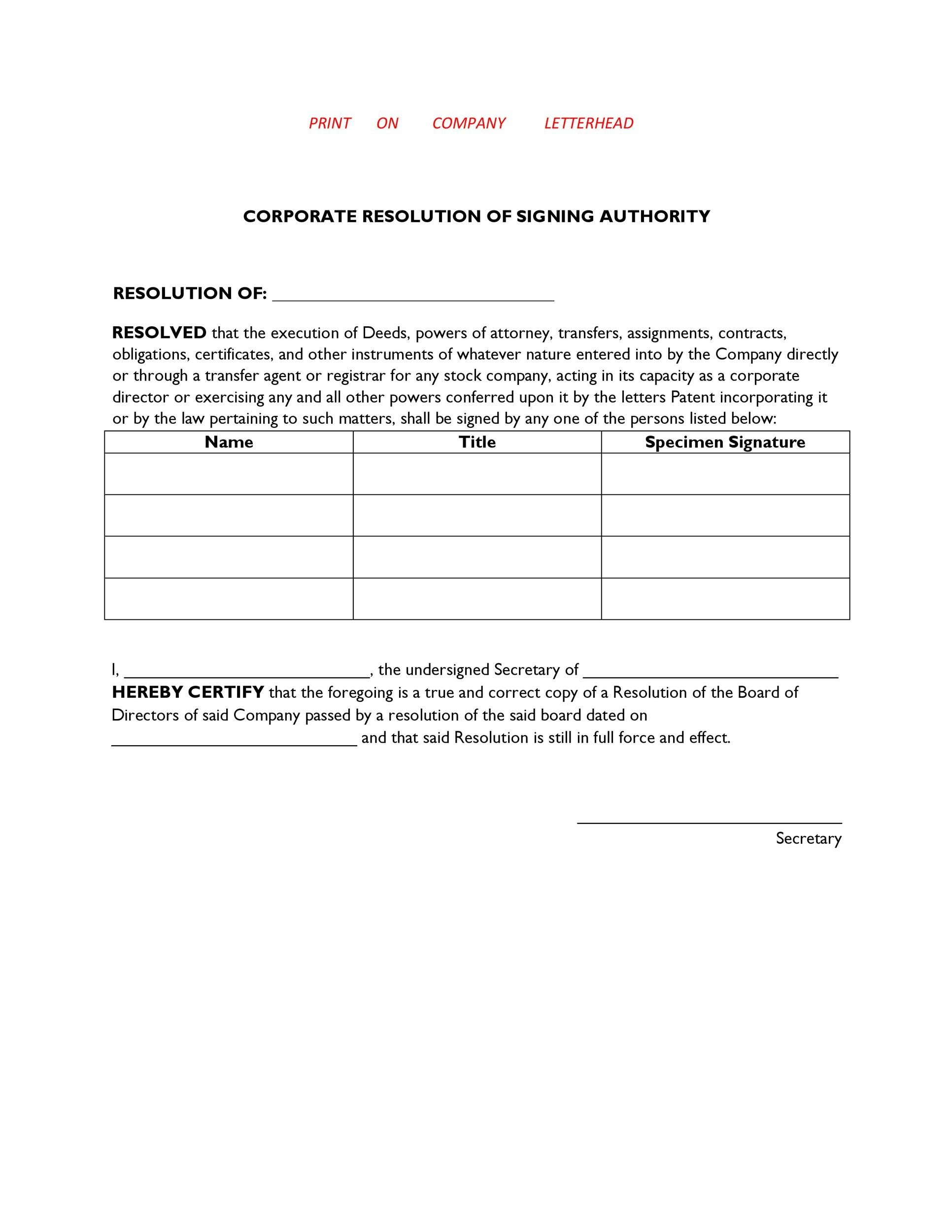 Free Corporate Resolution Form 10