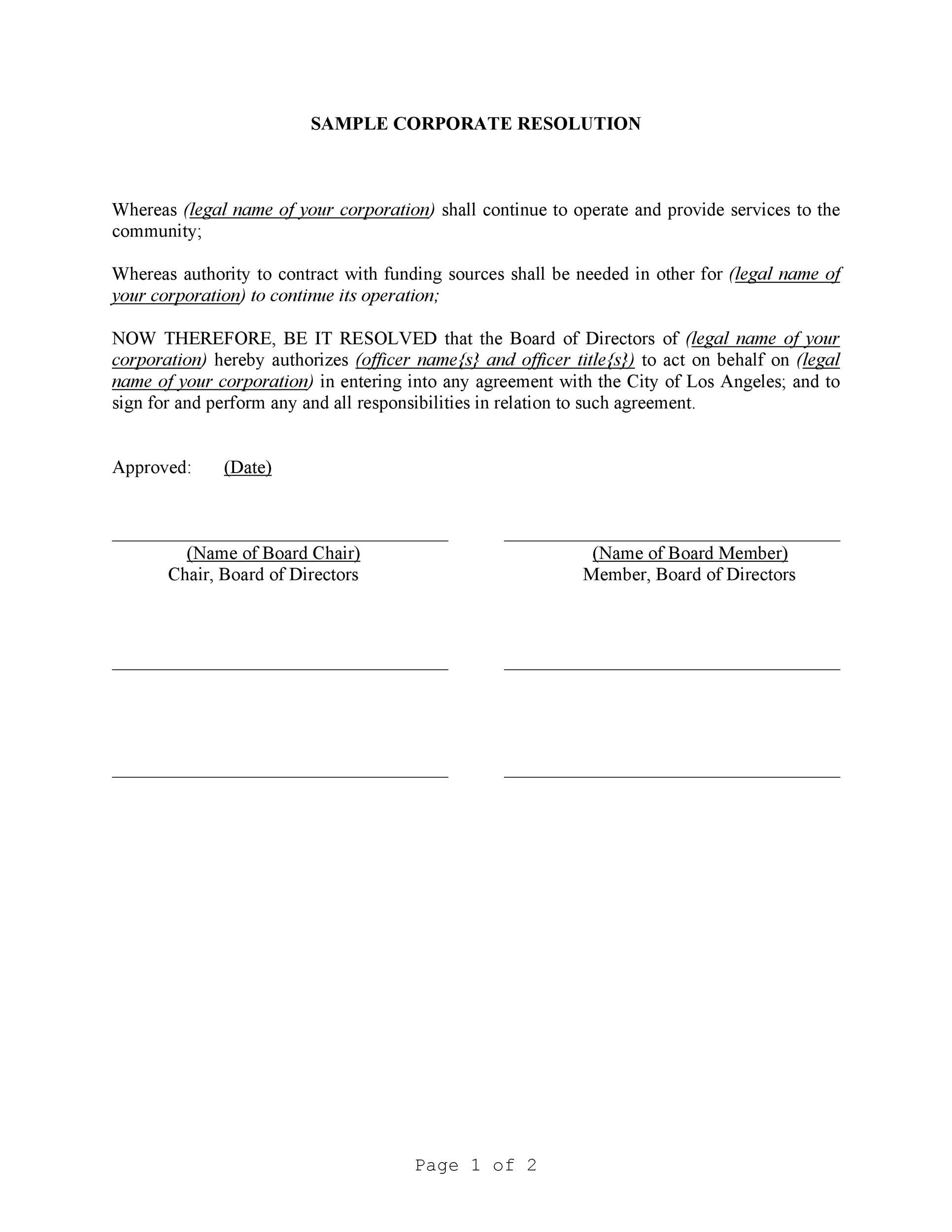 Free Corporate Resolution Form 11