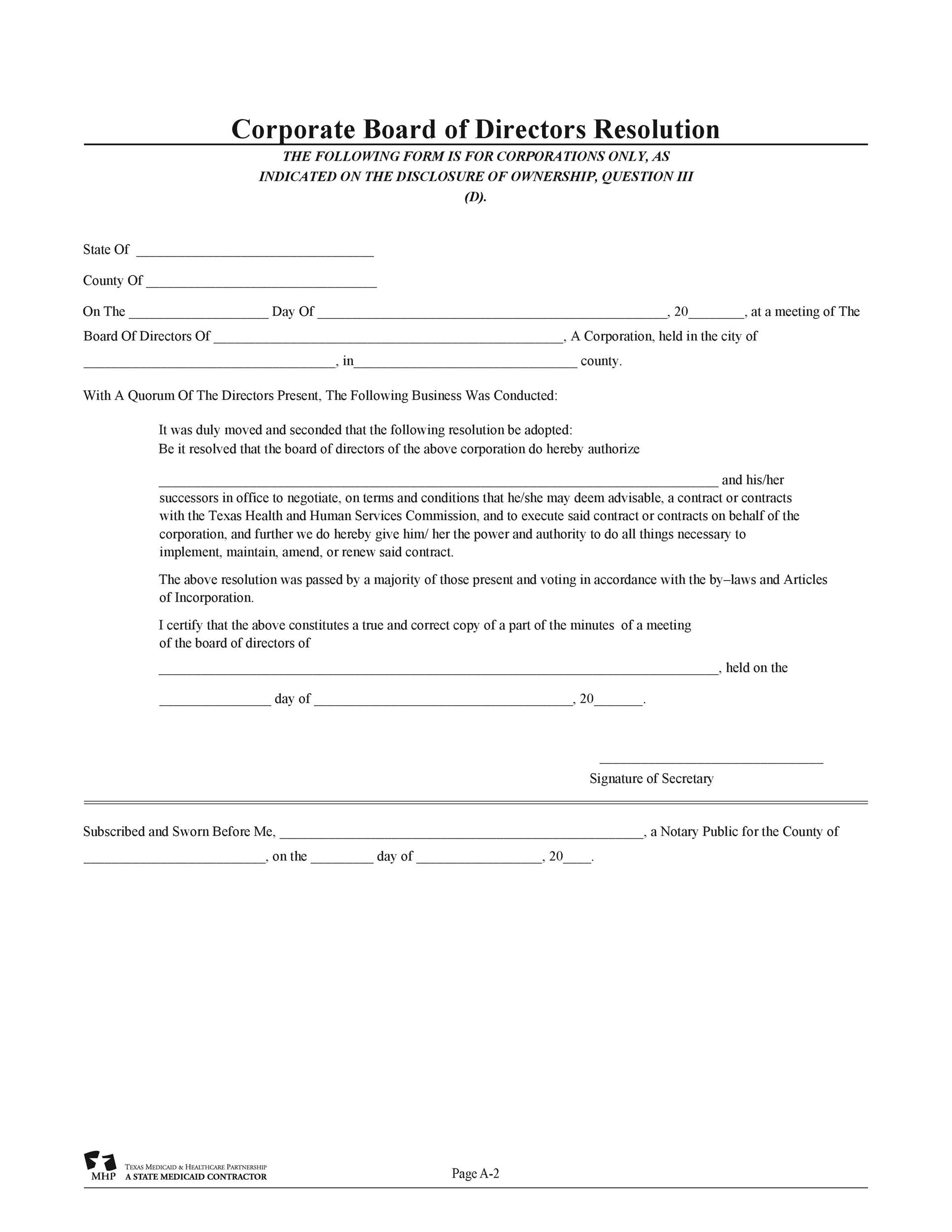 Free Corporate Resolution Form 12