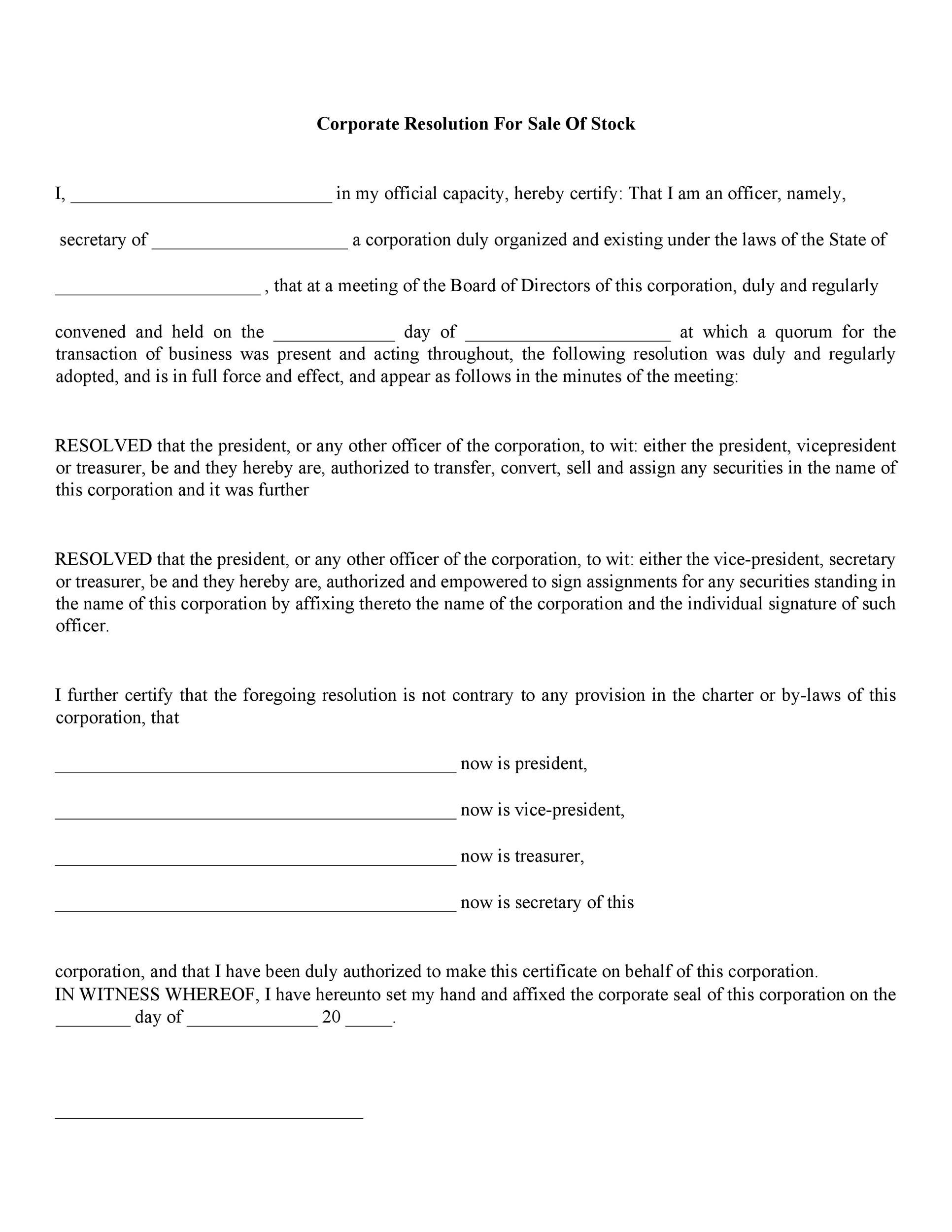 Free Corporate Resolution Form 16