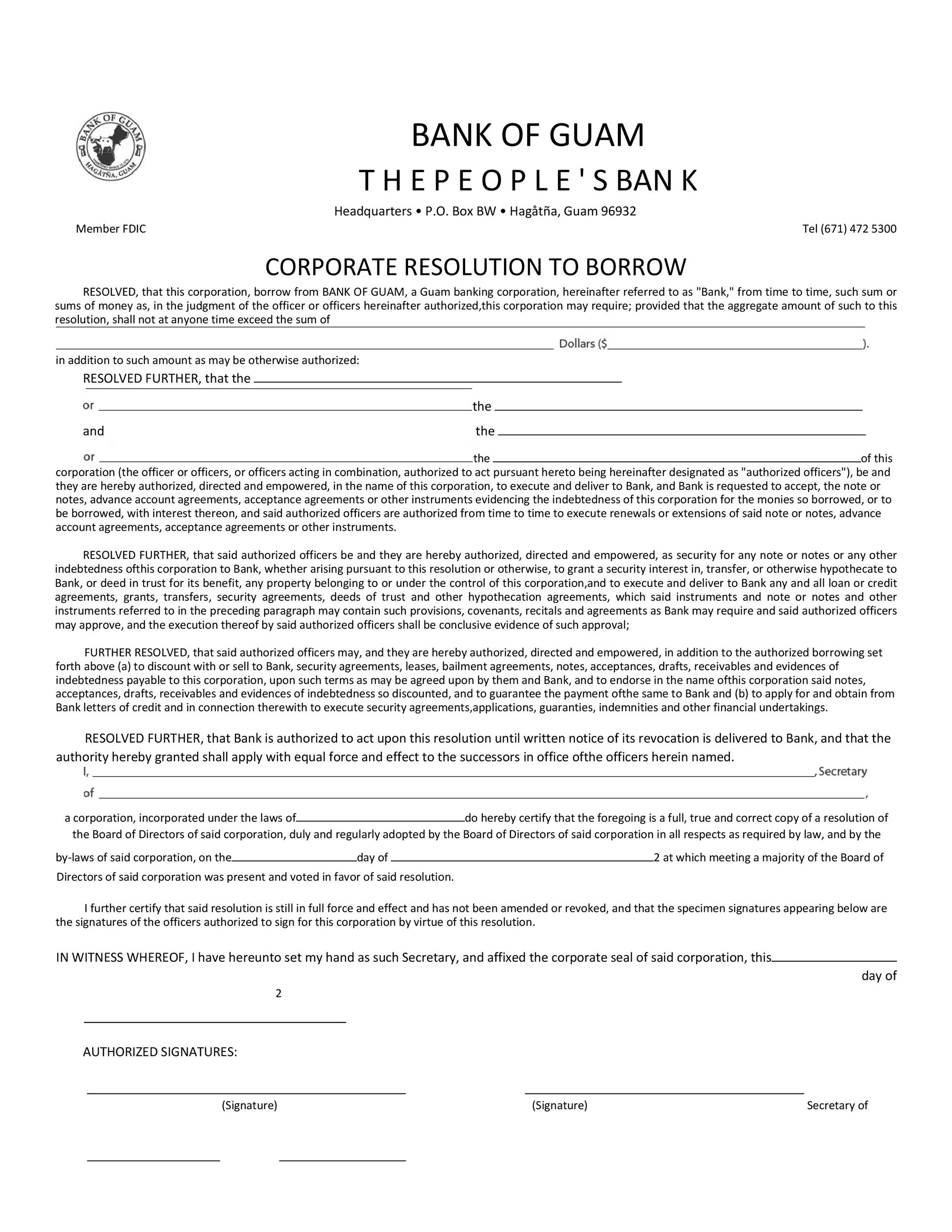Free Corporate Resolution Form 17