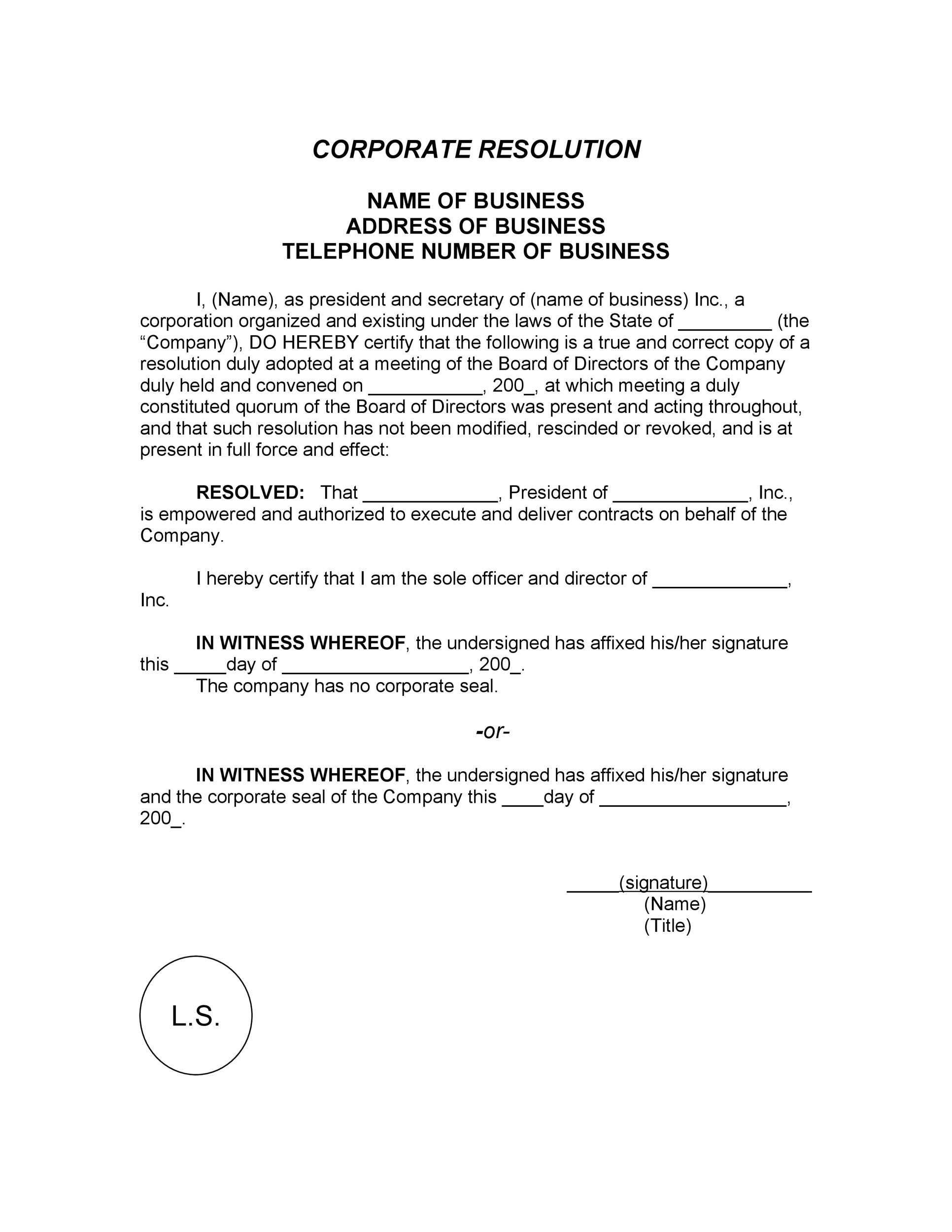 Free Corporate Resolution Form 19