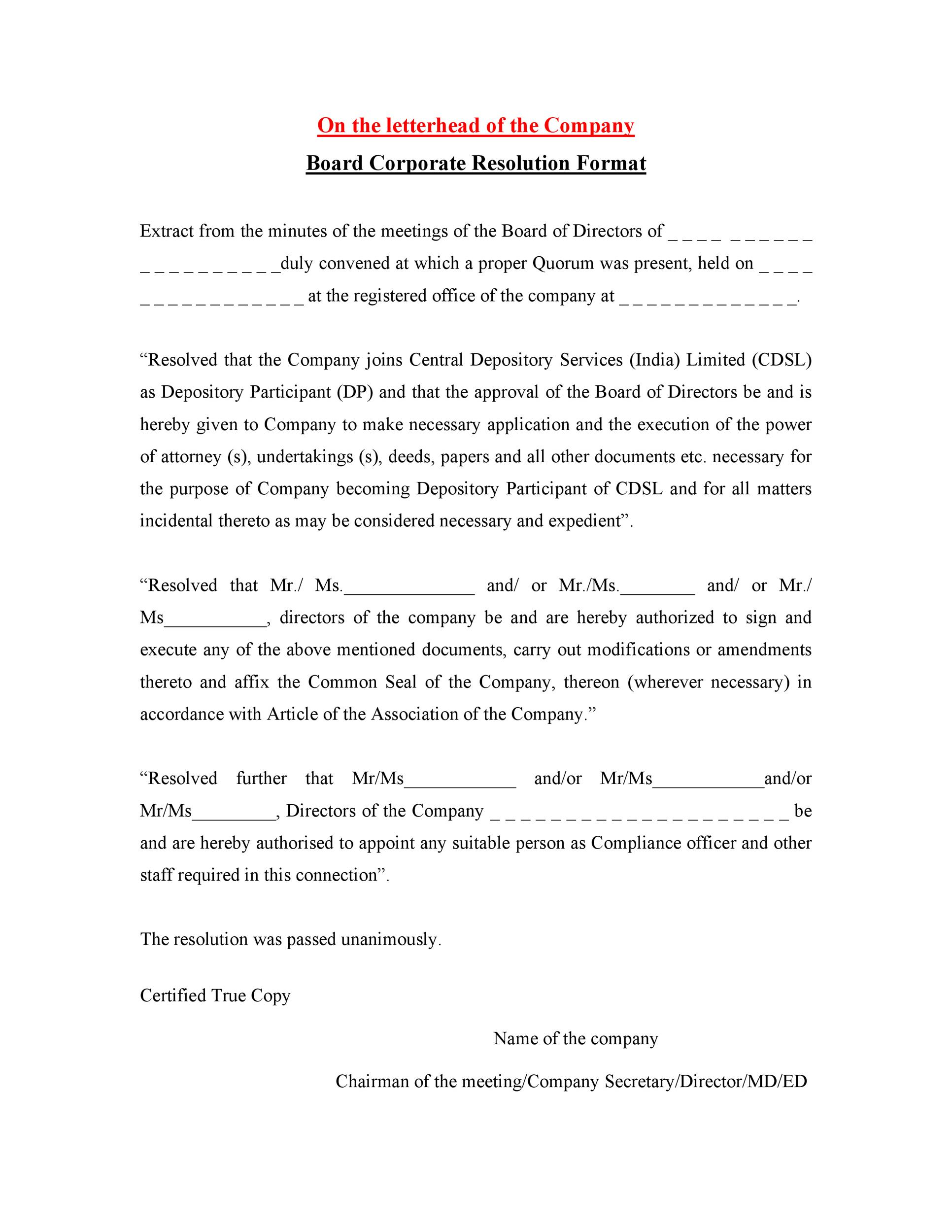 Free Corporate Resolution Form 21
