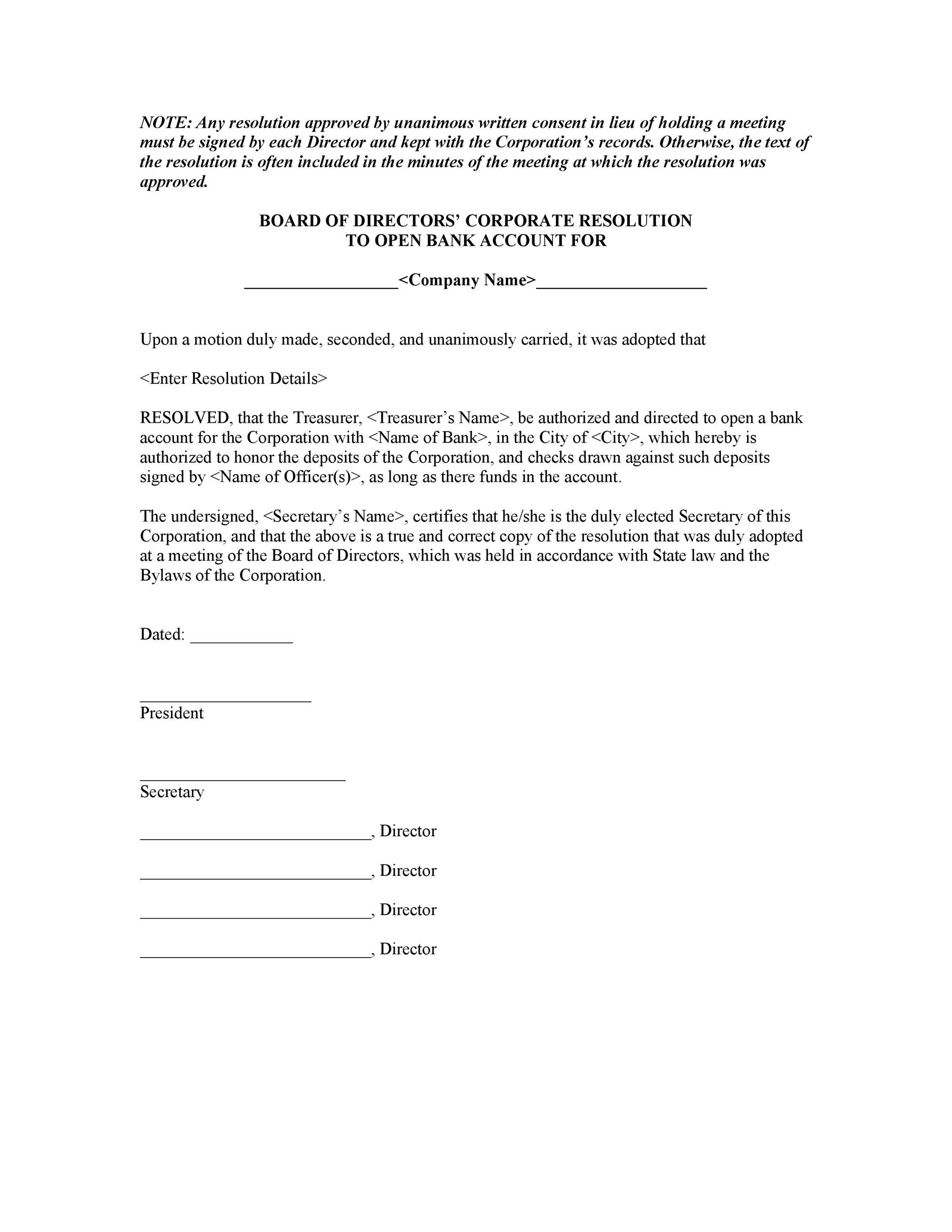 Free Corporate Resolution Form 25