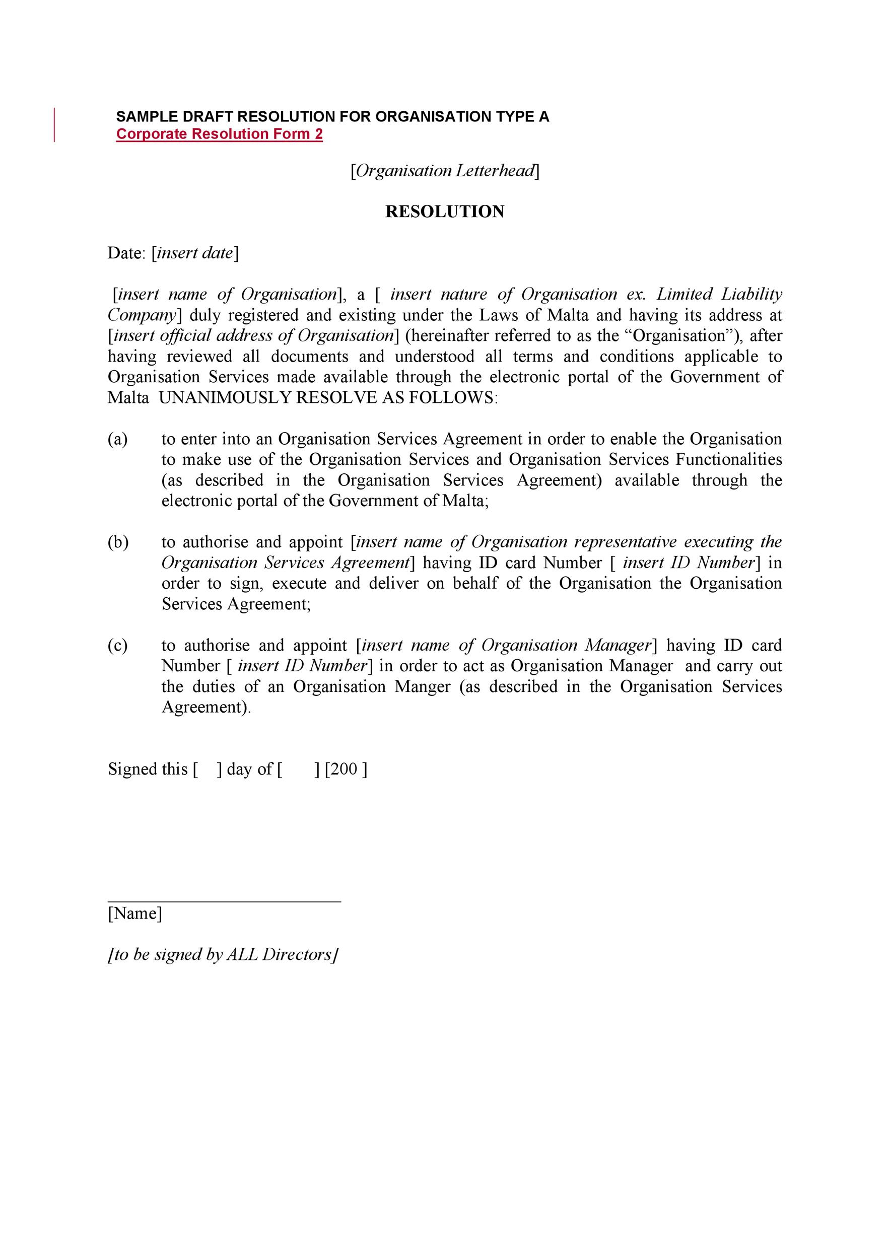 Free Corporate Resolution Form 26