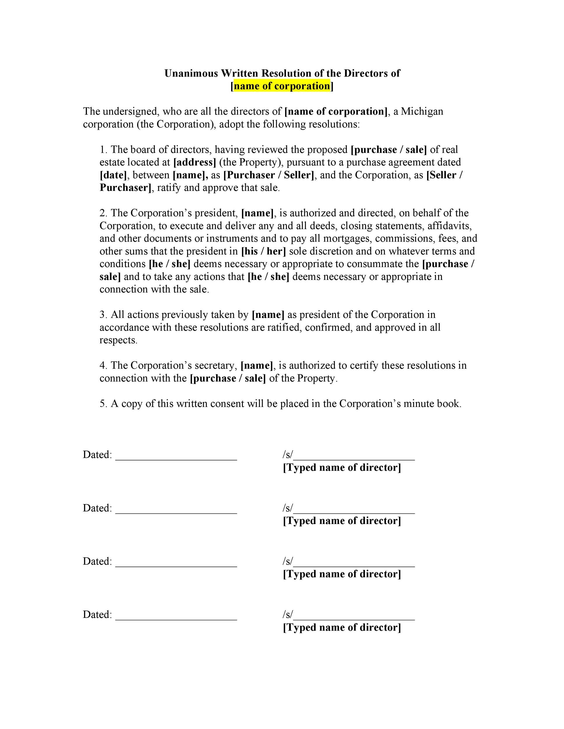 Free Corporate Resolution Form 27