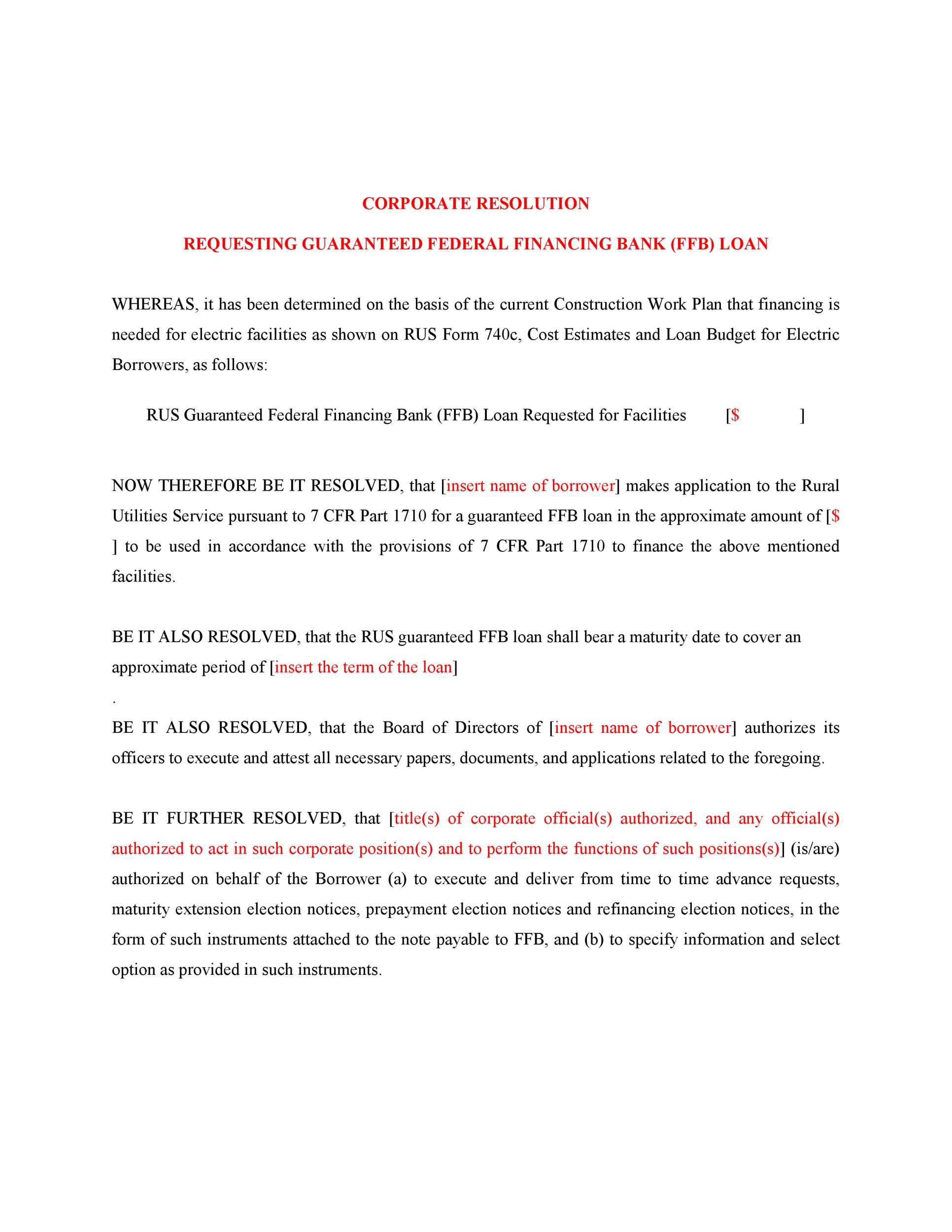 Free Corporate Resolution Form 29