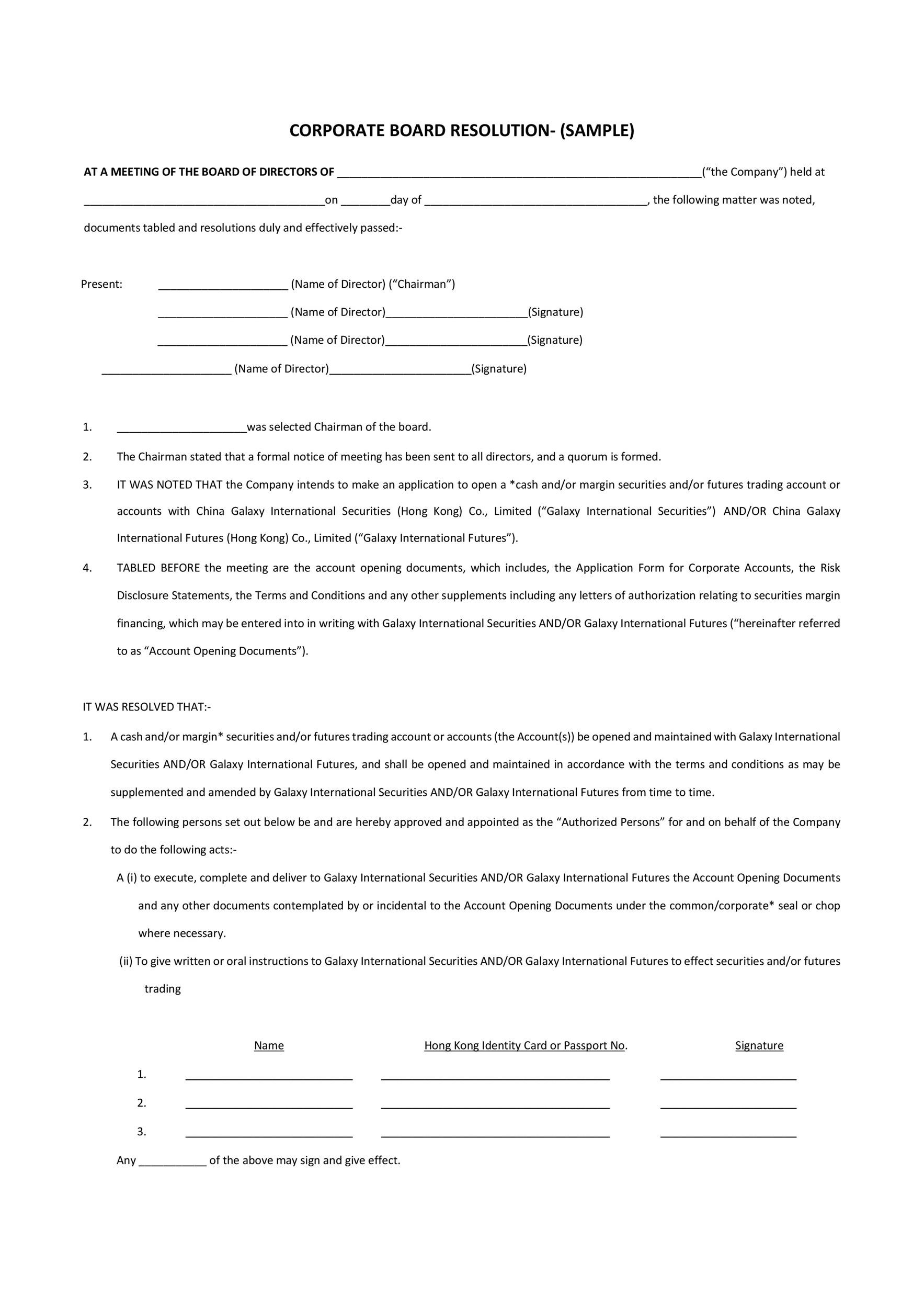 Free Corporate Resolution Form 30