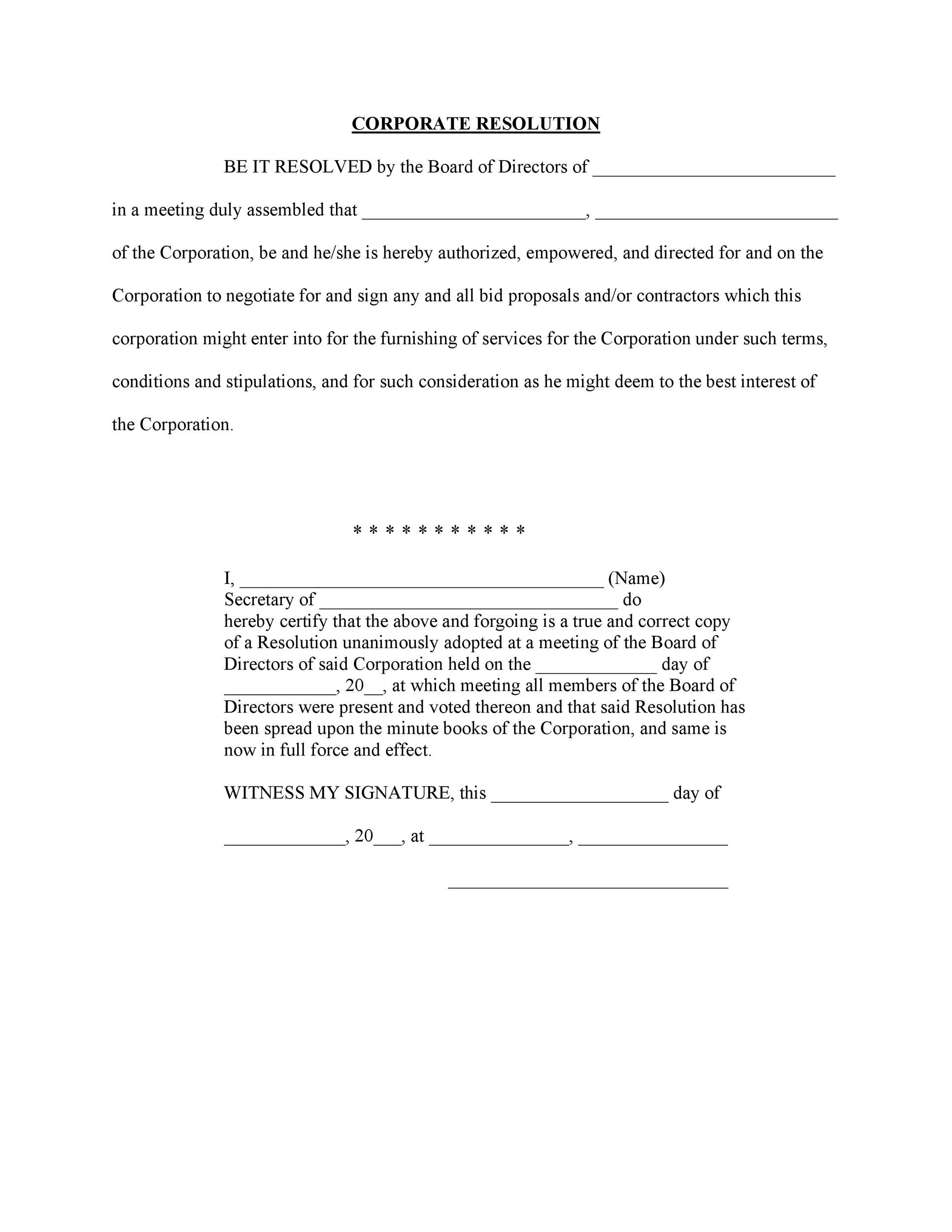 Free Corporate Resolution Form 32