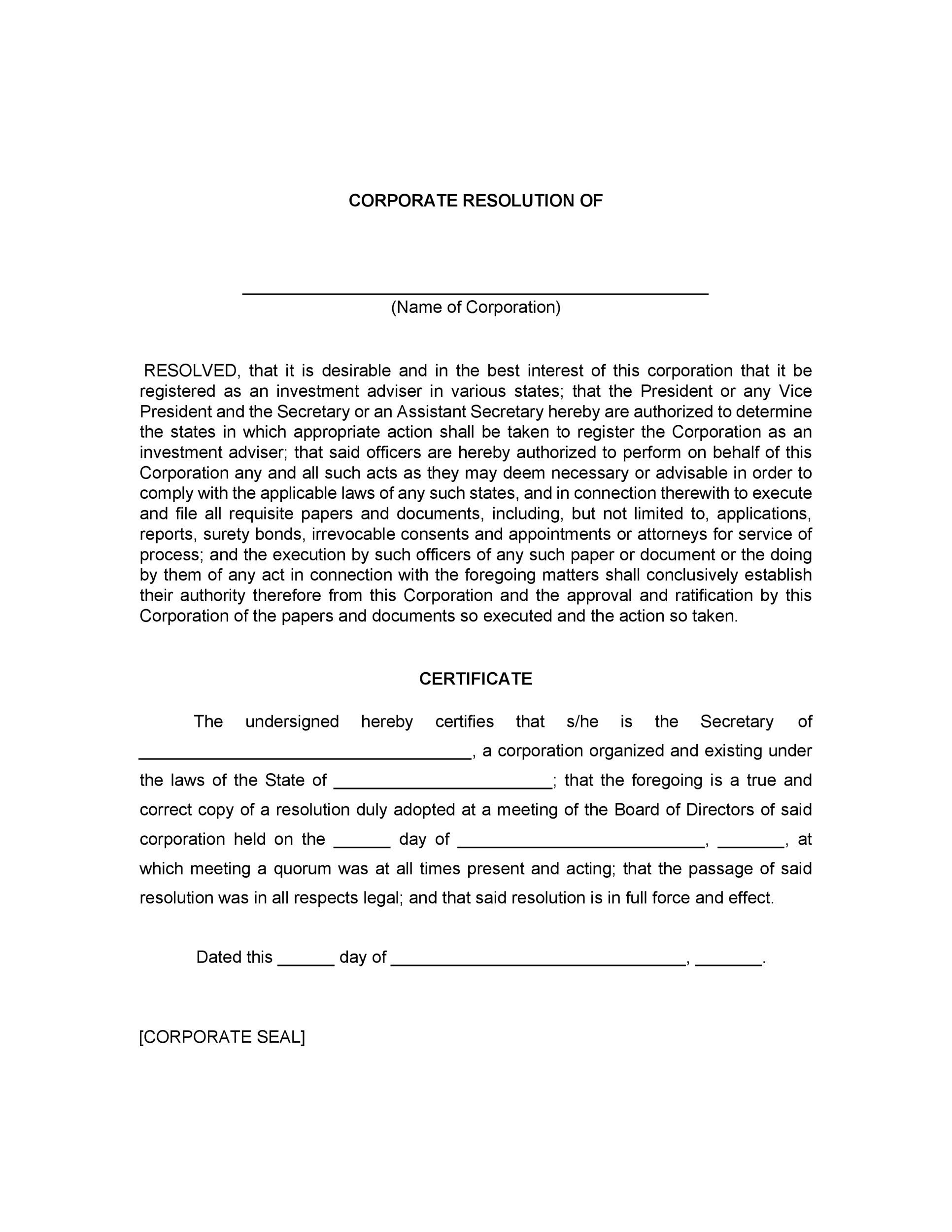 Free Corporate Resolution Form 33