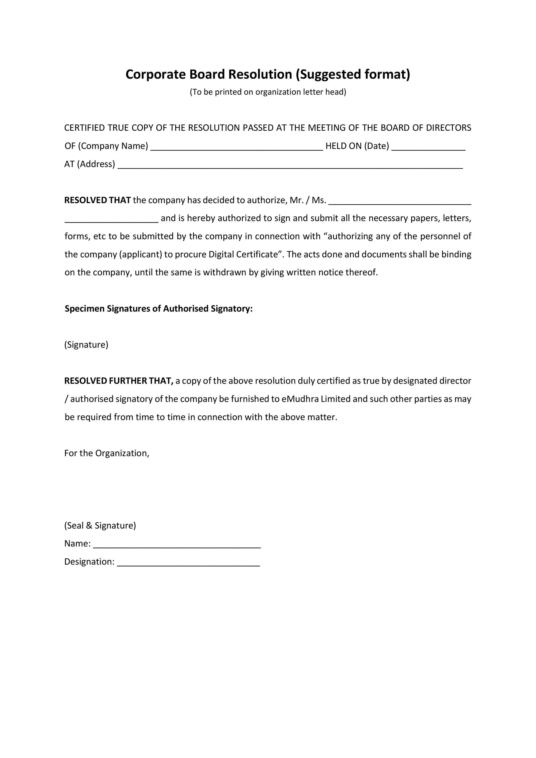 corporate resolution authorized signers template - 37 printable corporate resolution forms template lab