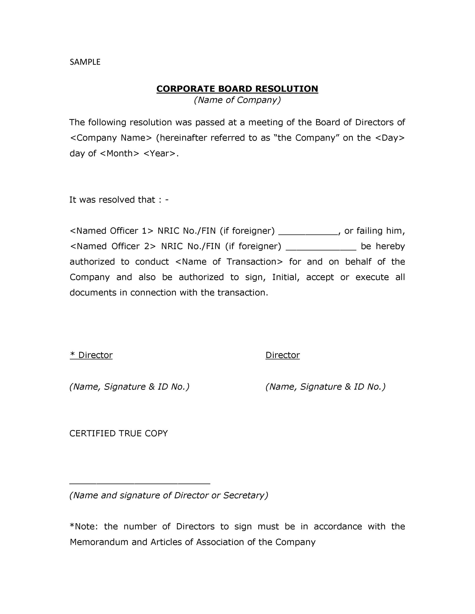 Free Corporate Resolution Form 36