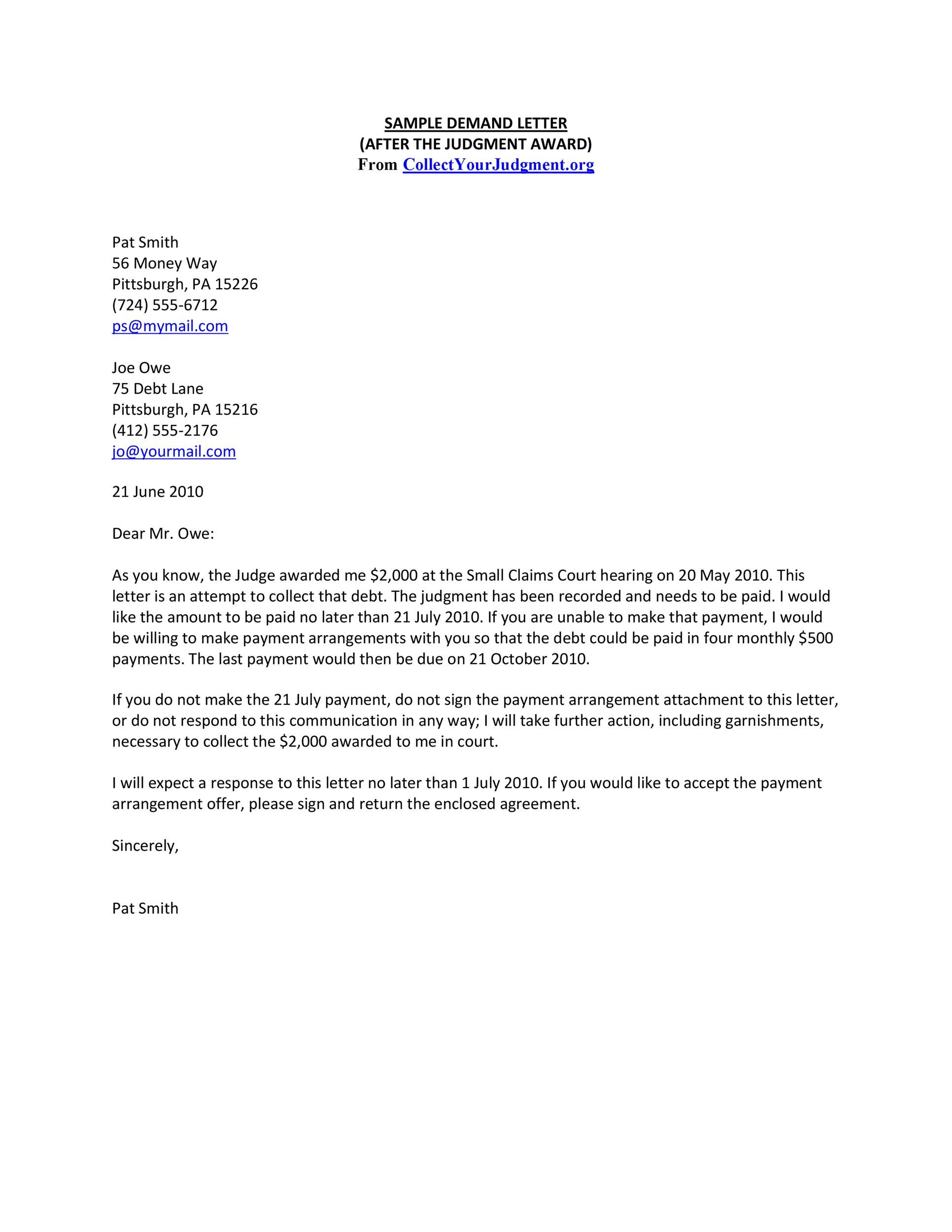 Demand-Letter-Template-04 Salary Demand Letter Template on for suiting companies, for quality, earnest money, insurance company, for injury, editable free, diminished value, for services, don compton book, turning robocalls into cash, free download print, sample security deposit, for damages,