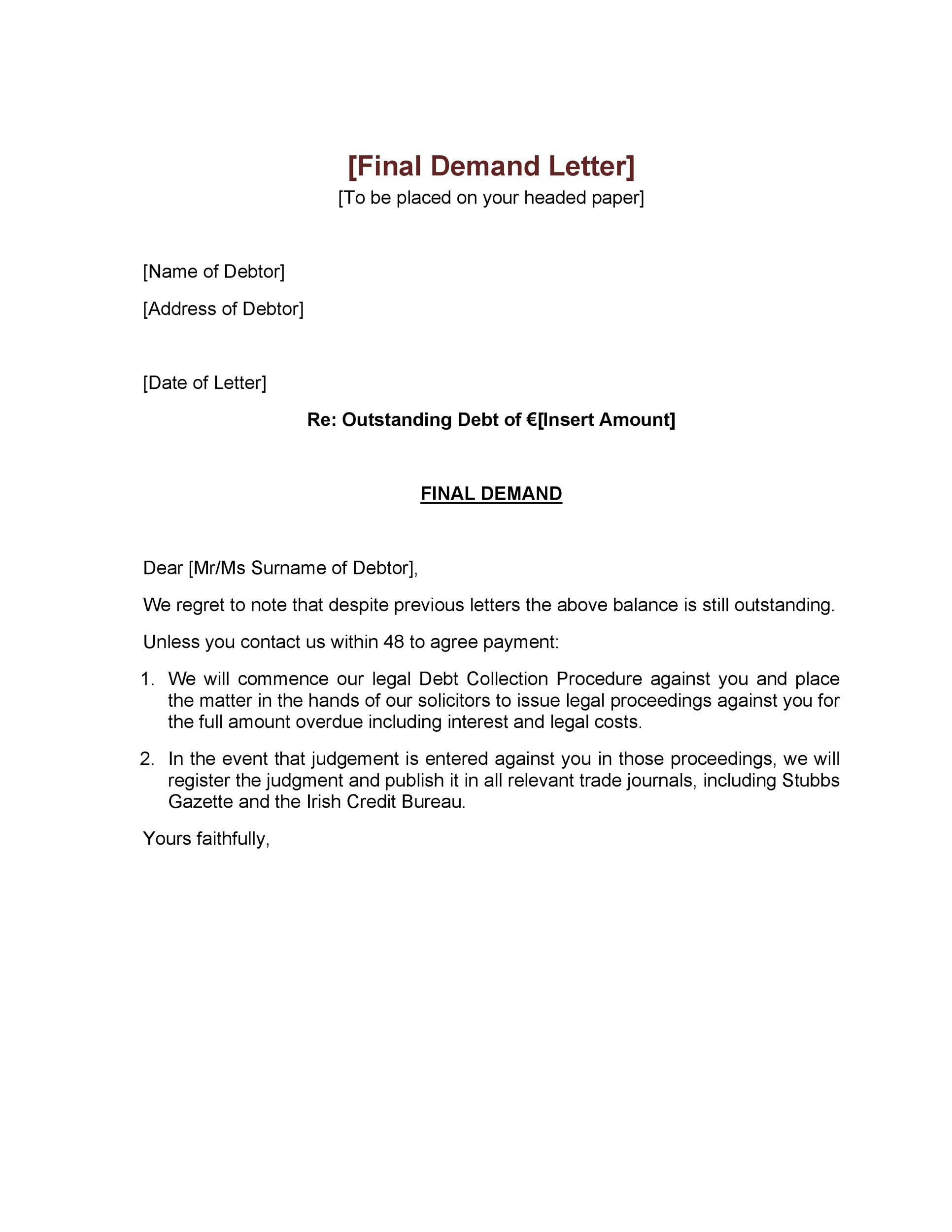 40 Best Demand Letter Templates (Free Samples) - Template Lab