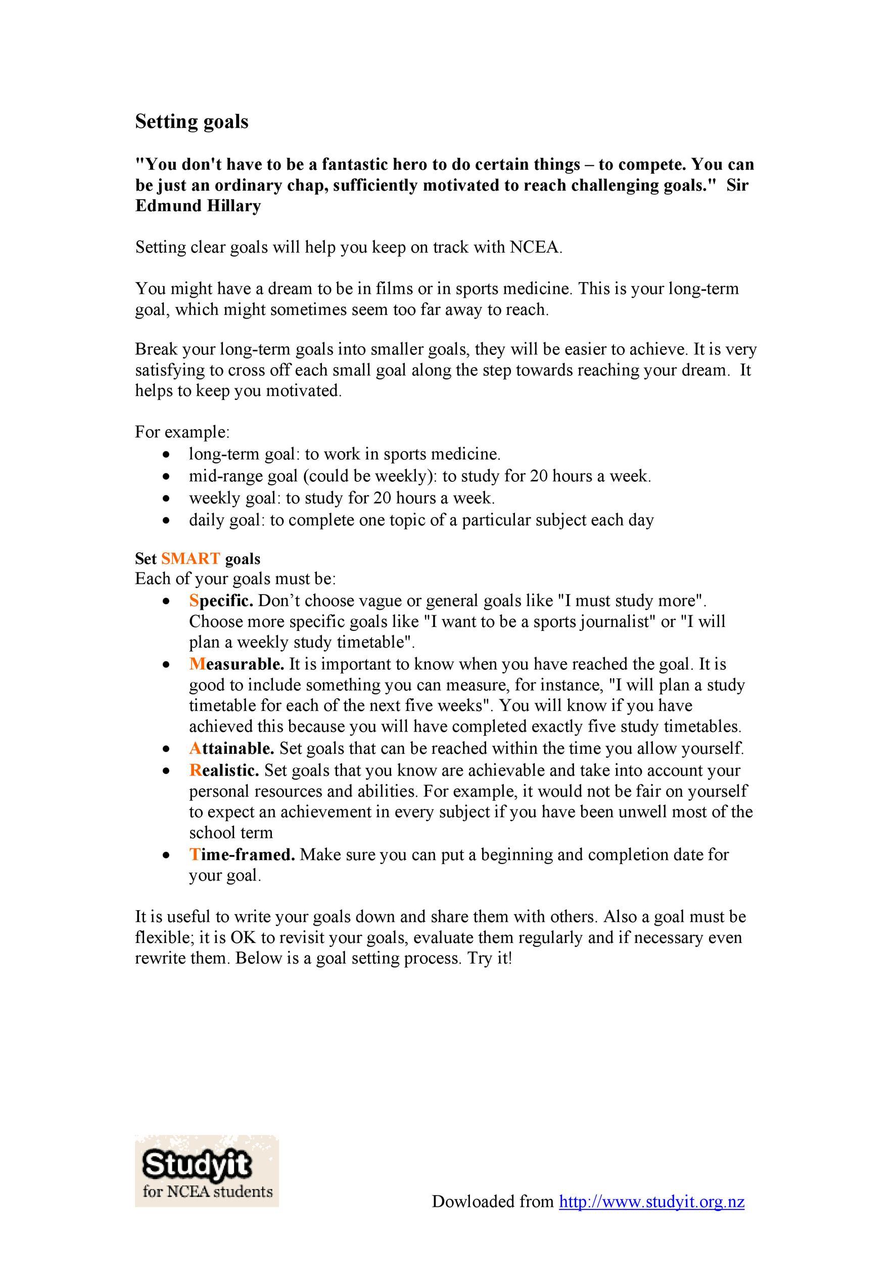Free Goal Setting Template 22