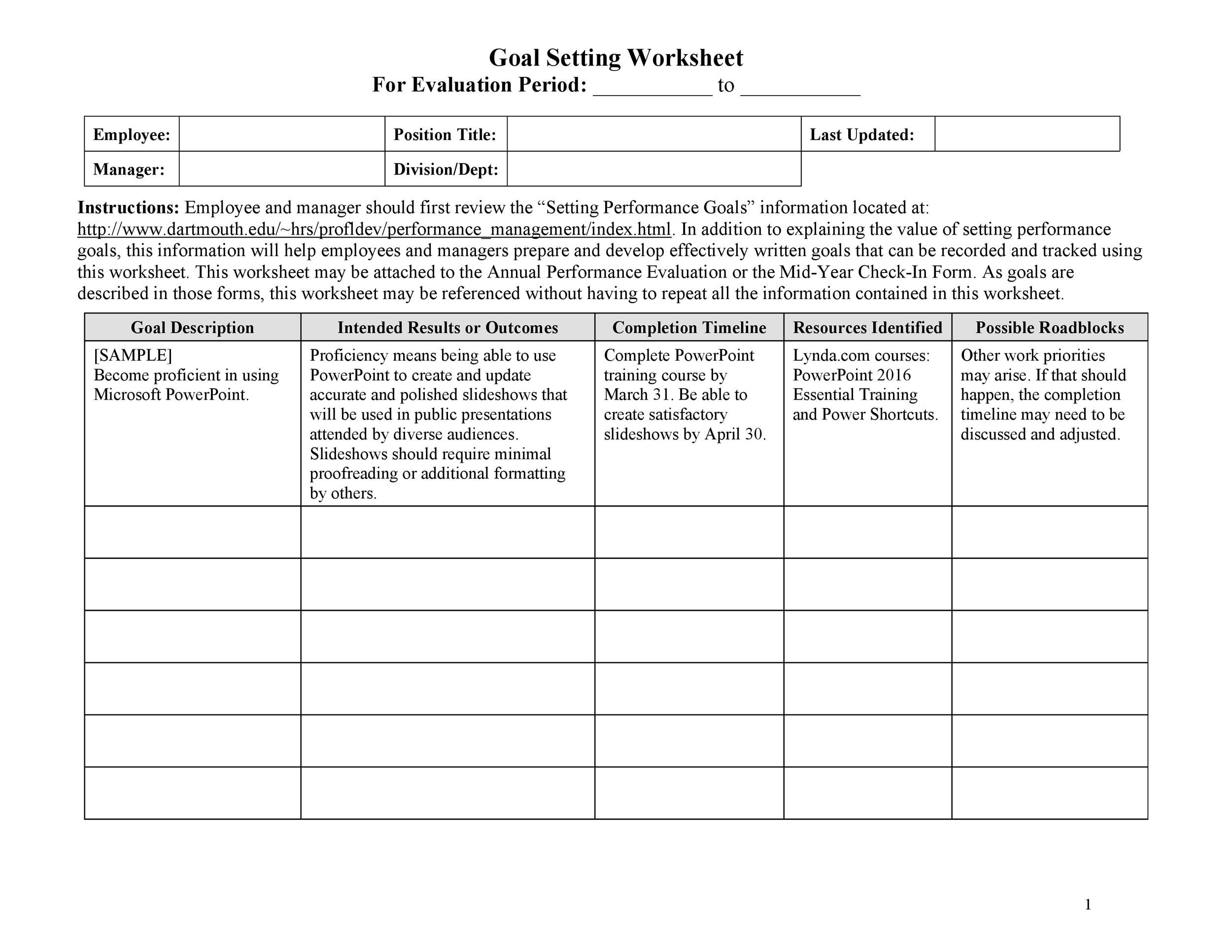 Free Goal Setting Template 39