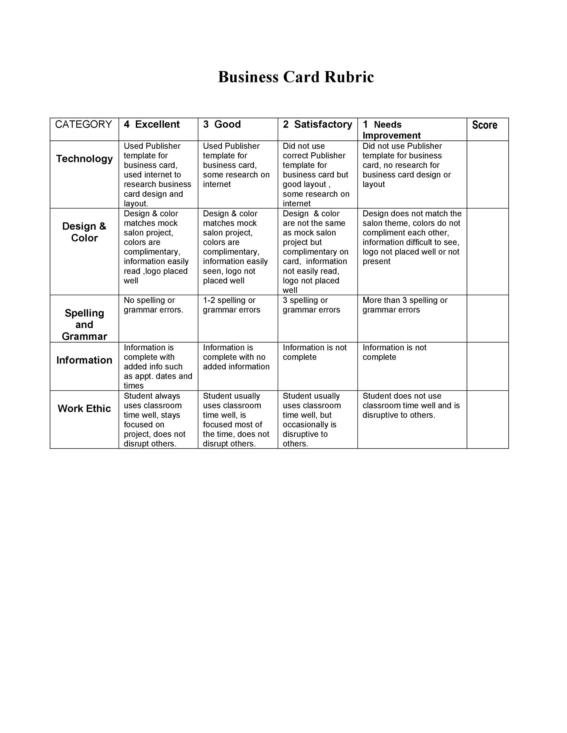 Free Grading Rubric Template 05