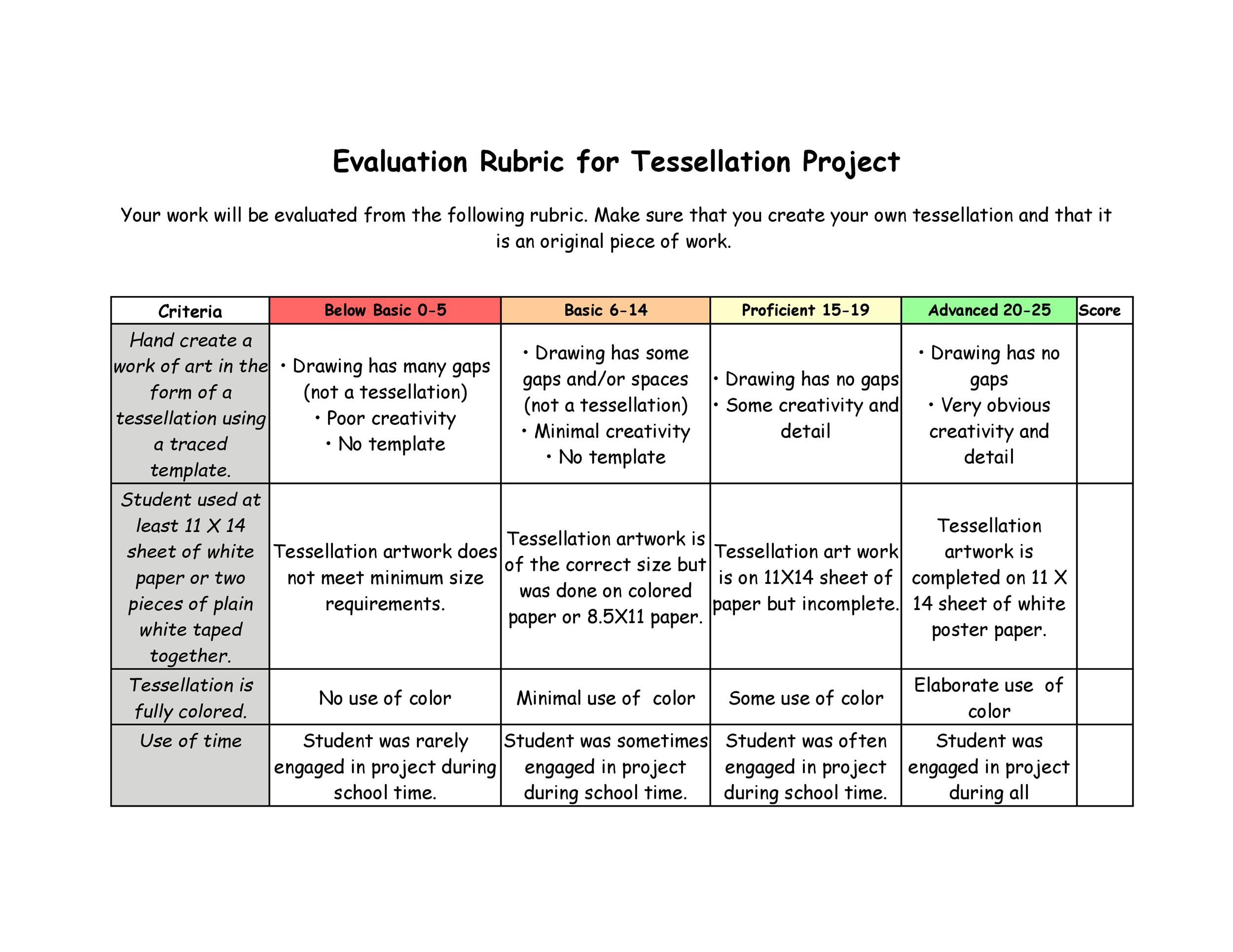 Project Rubric Template | 46 Editable Rubric Templates Word Format ᐅ Template Lab