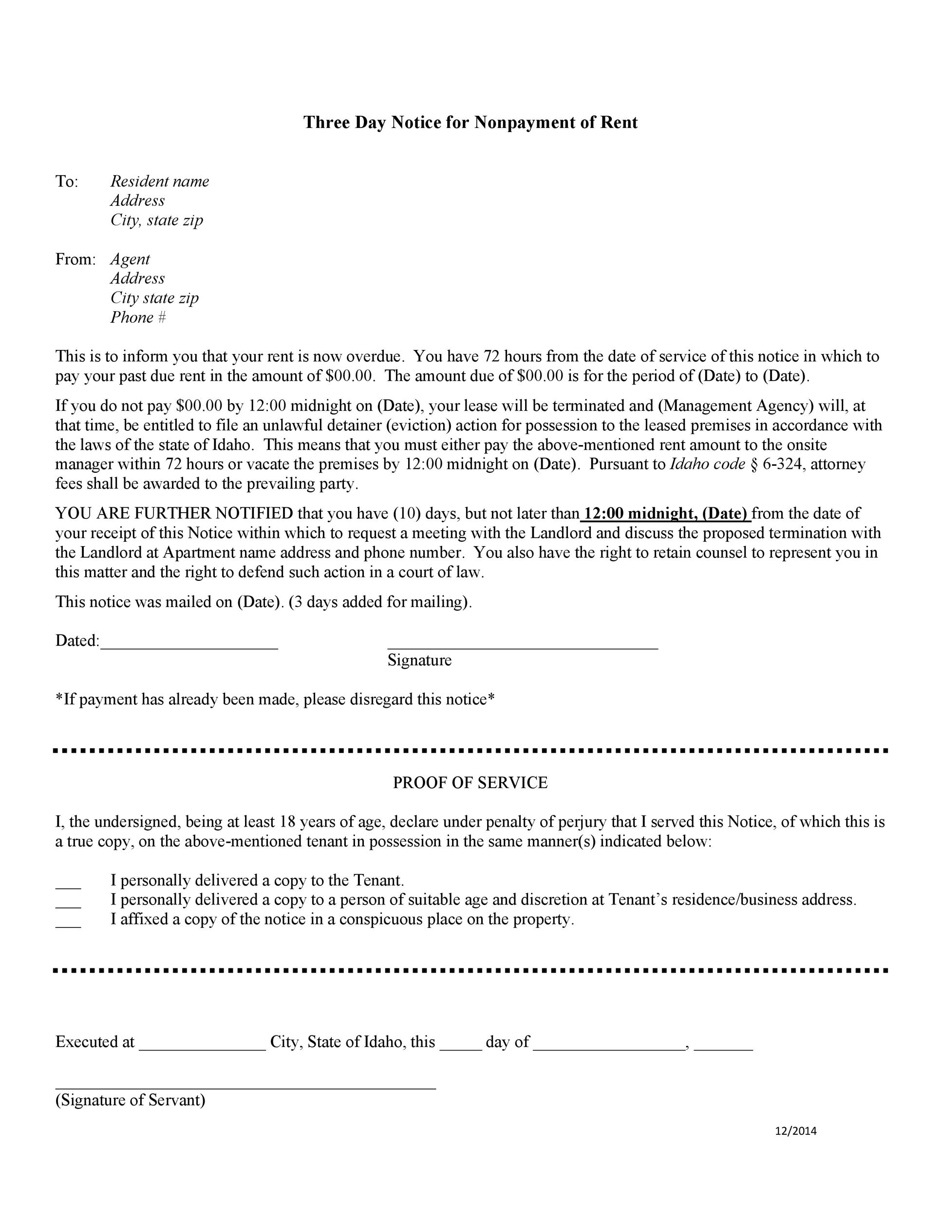 Free Late Rent Notice Template 01