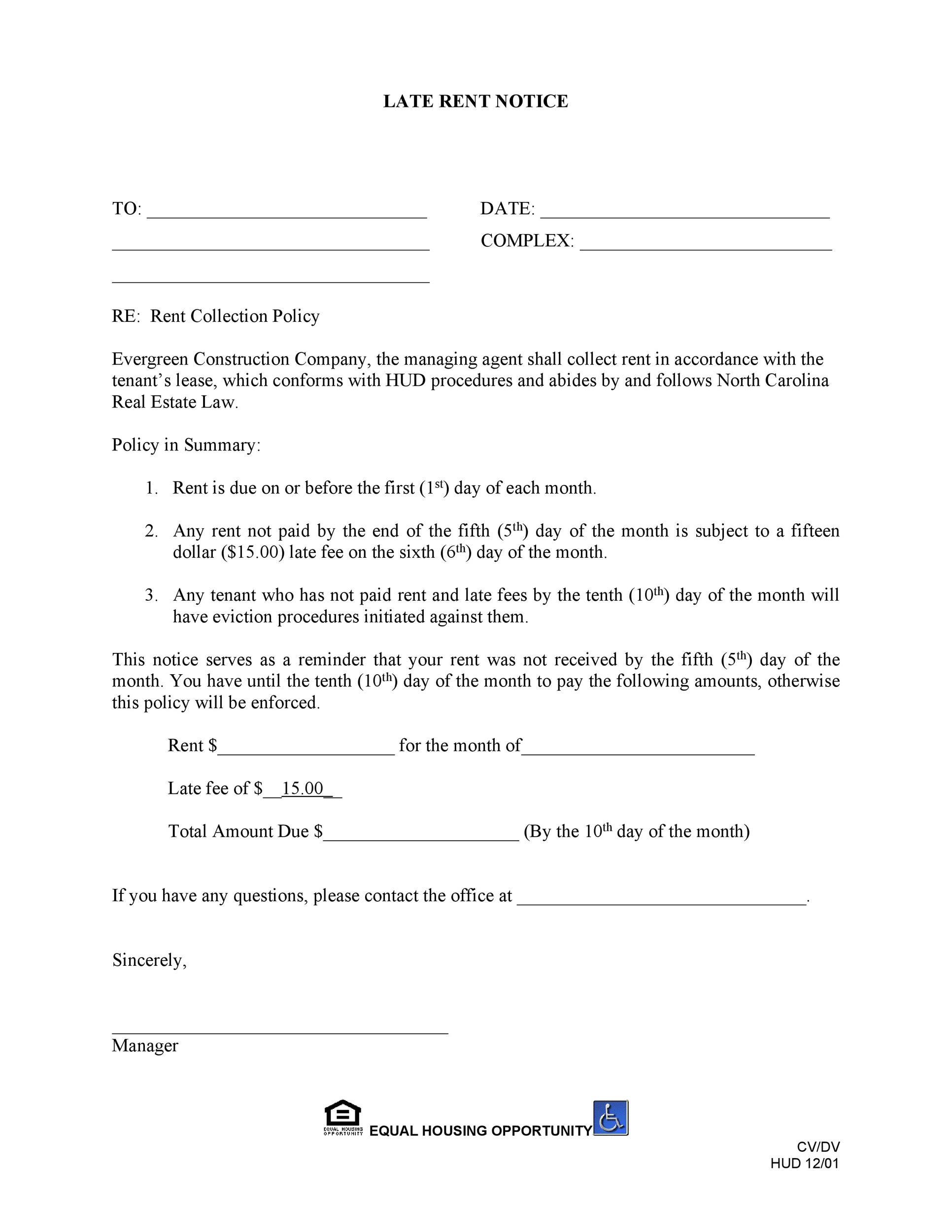 30 Printable Late Rent Notice Templates ᐅ TemplateLab