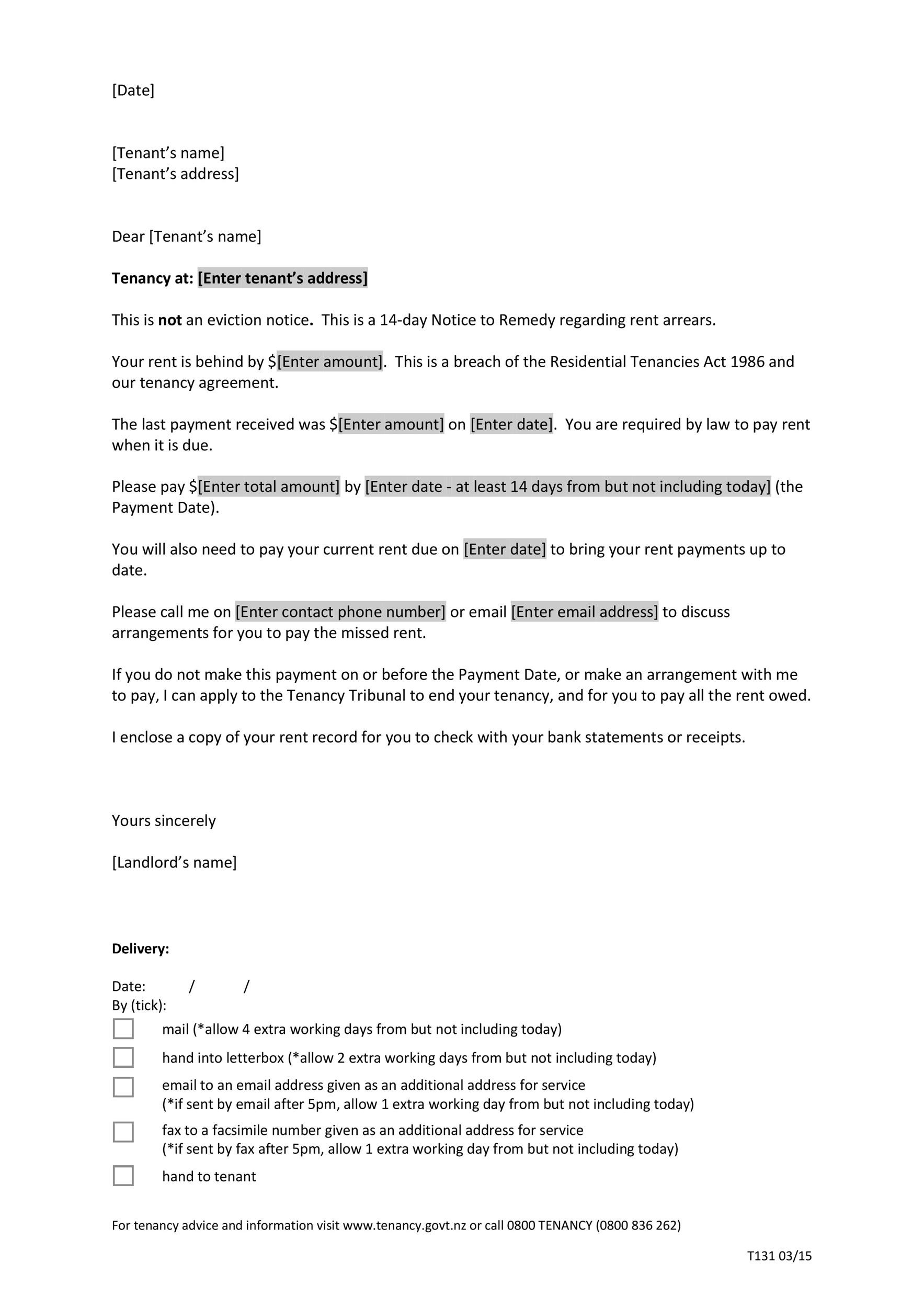 Free Late Rent Notice Template 04
