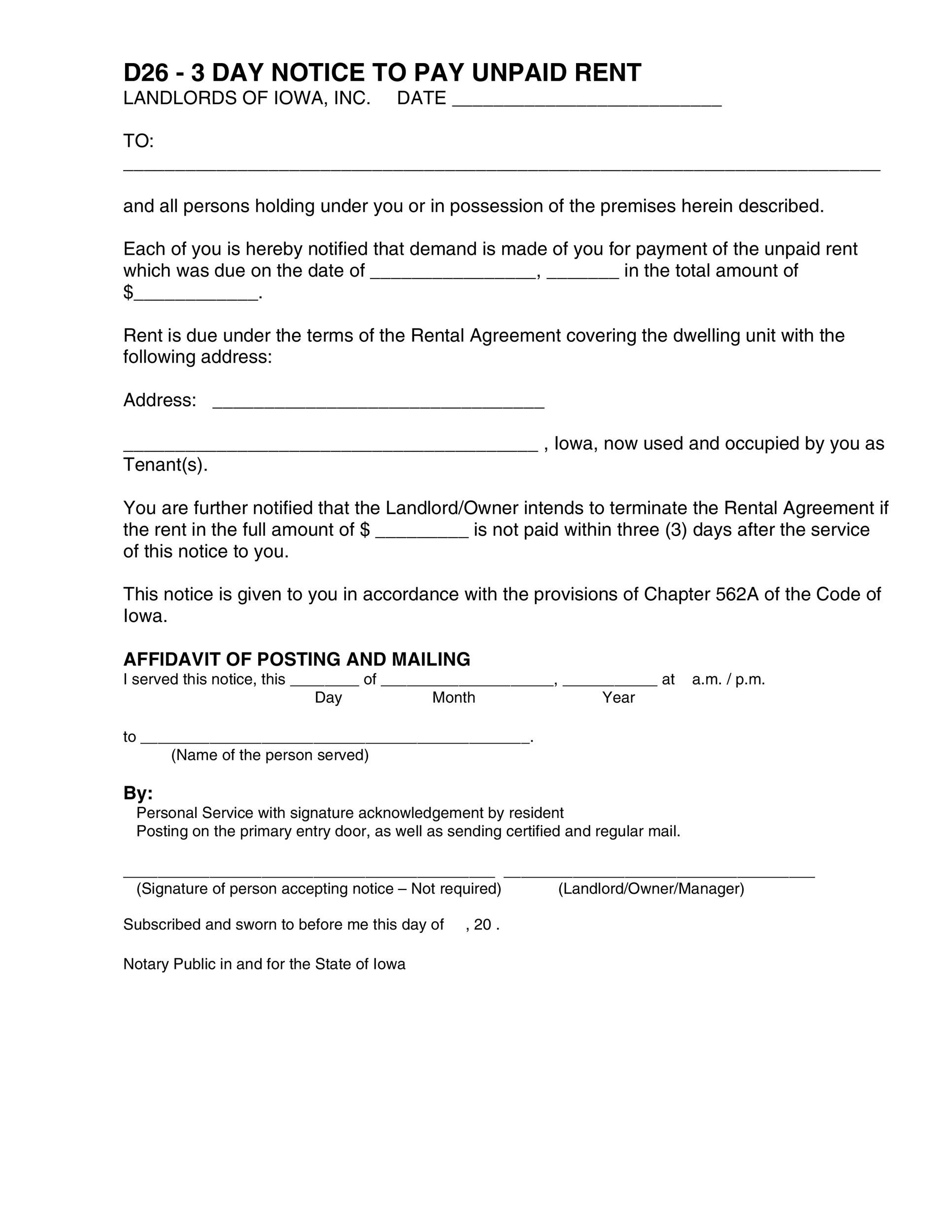 Free Late Rent Notice Template 06