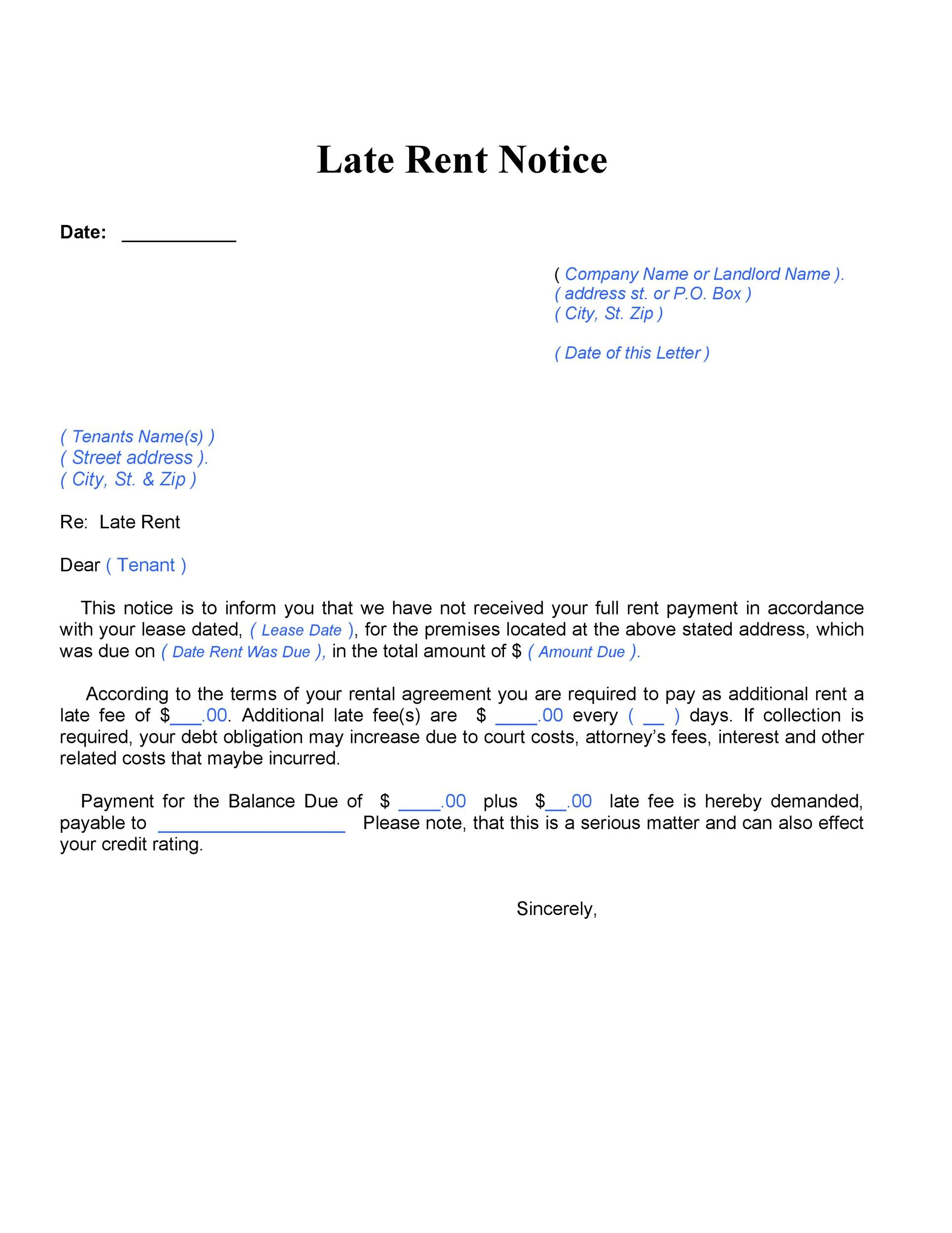 Free Late Rent Notice Template 10