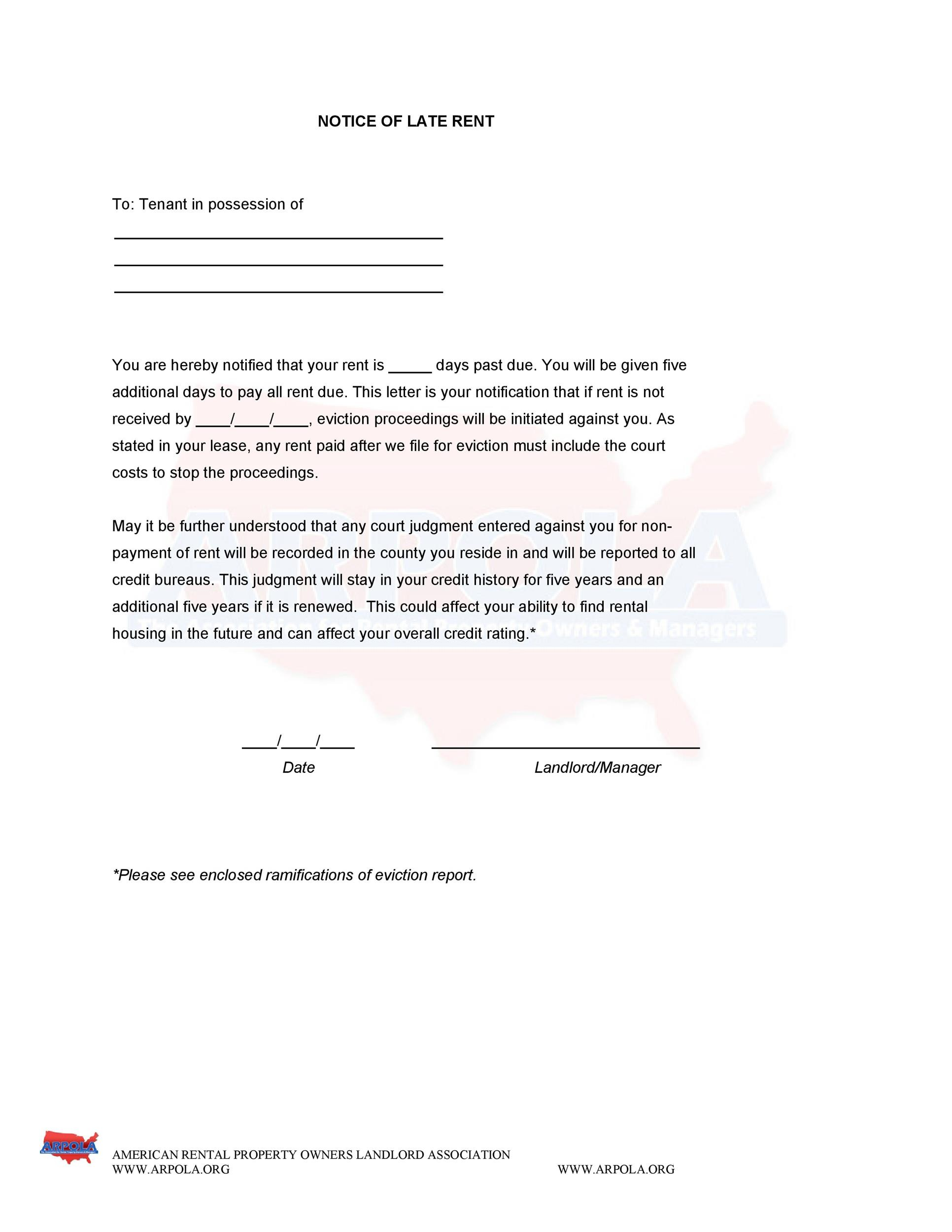 Free Late Rent Notice Template 17