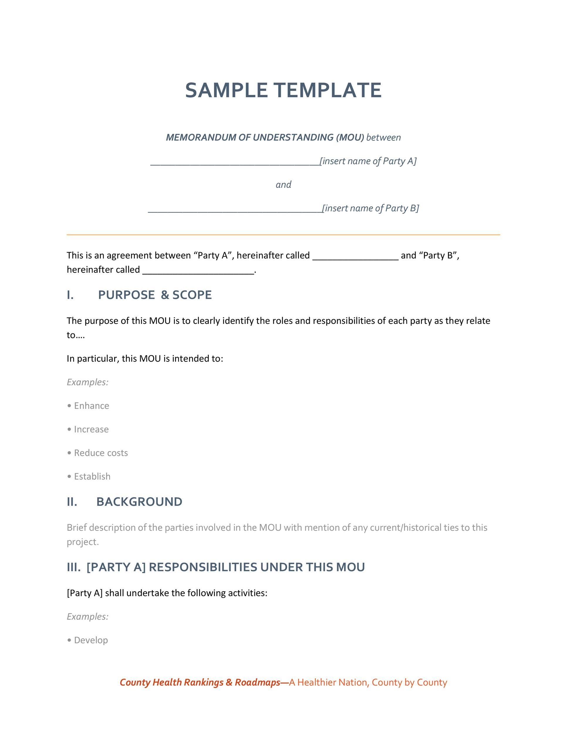 50 free memorandum of understanding templates word template lab