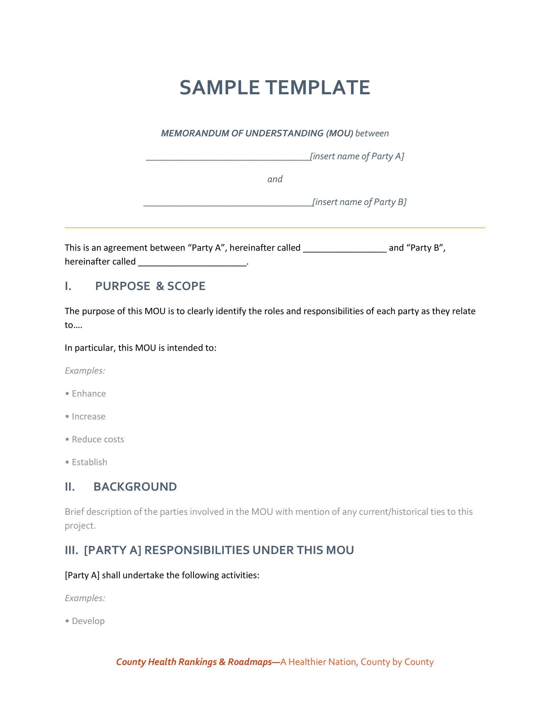 Free Memorandum of Understanding Template 01