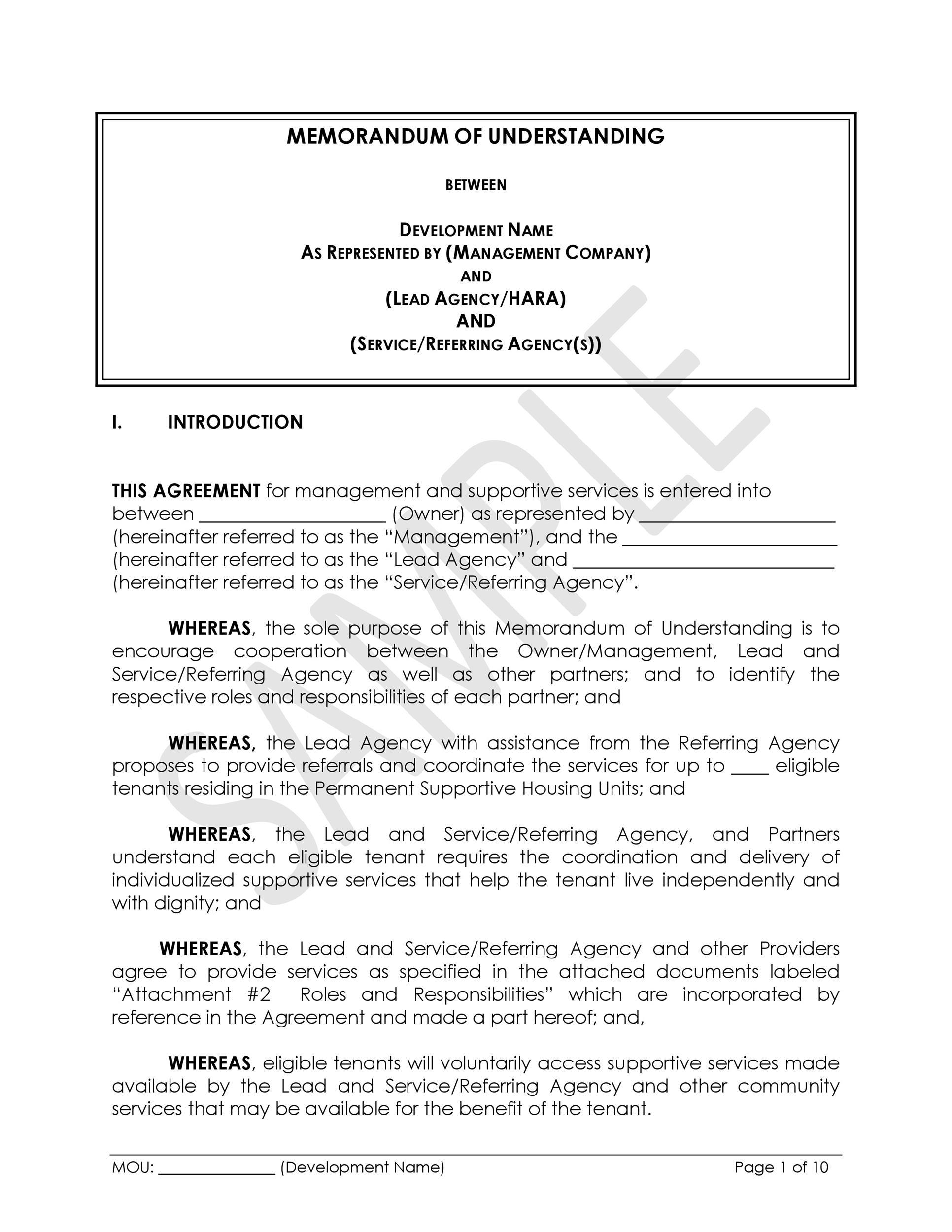 Free Memorandum of Understanding Template 03