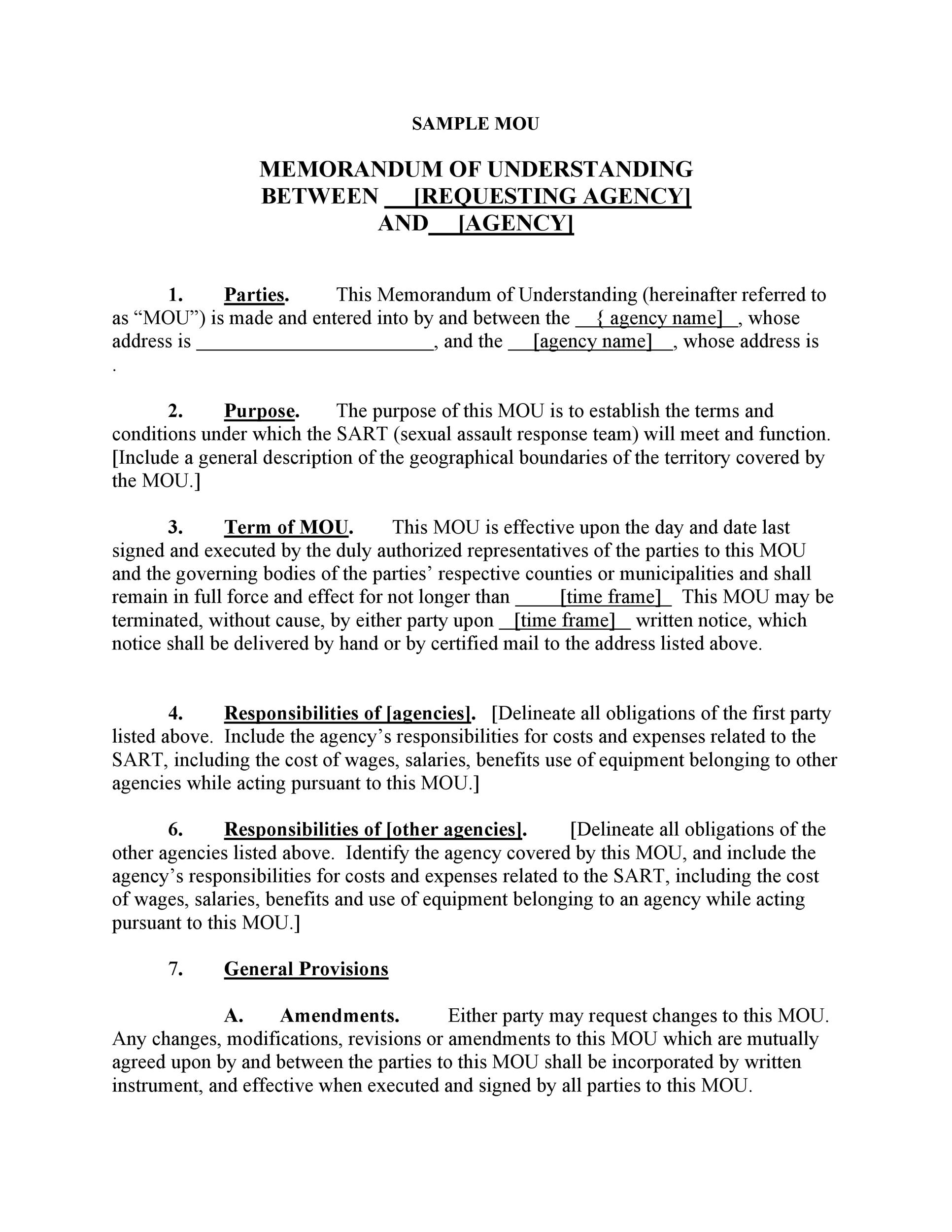 50 free memorandum of understanding templates word for Template for a memorandum of understanding