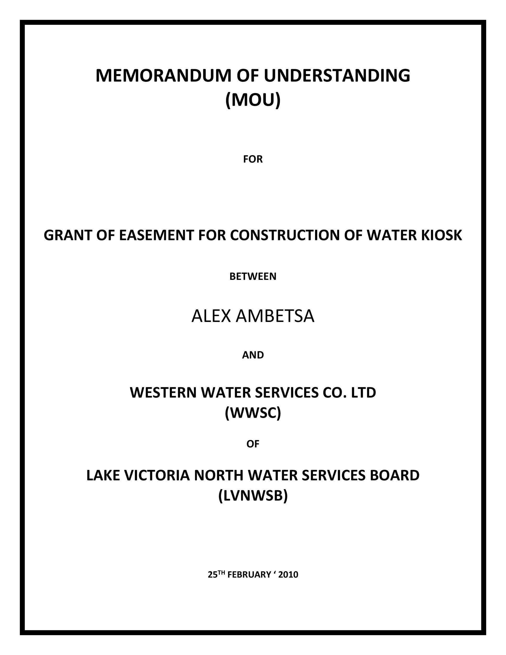 Free Memorandum of Understanding Template 08