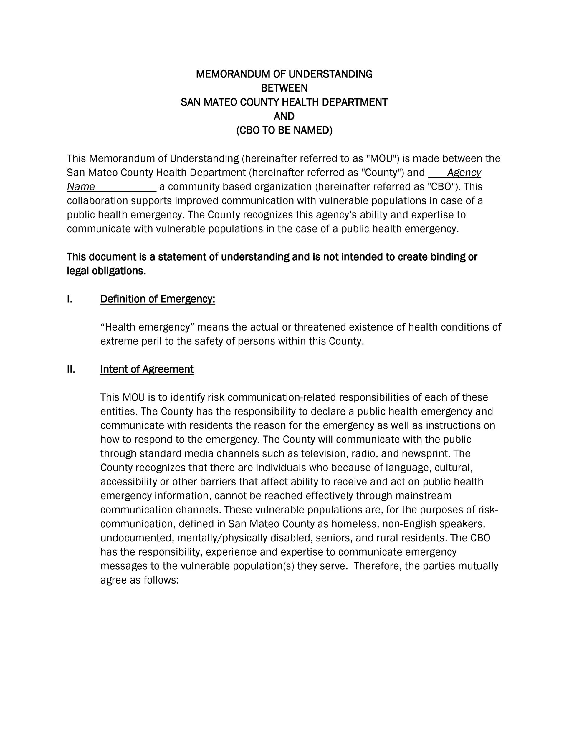 Free Memorandum of Understanding Template 11