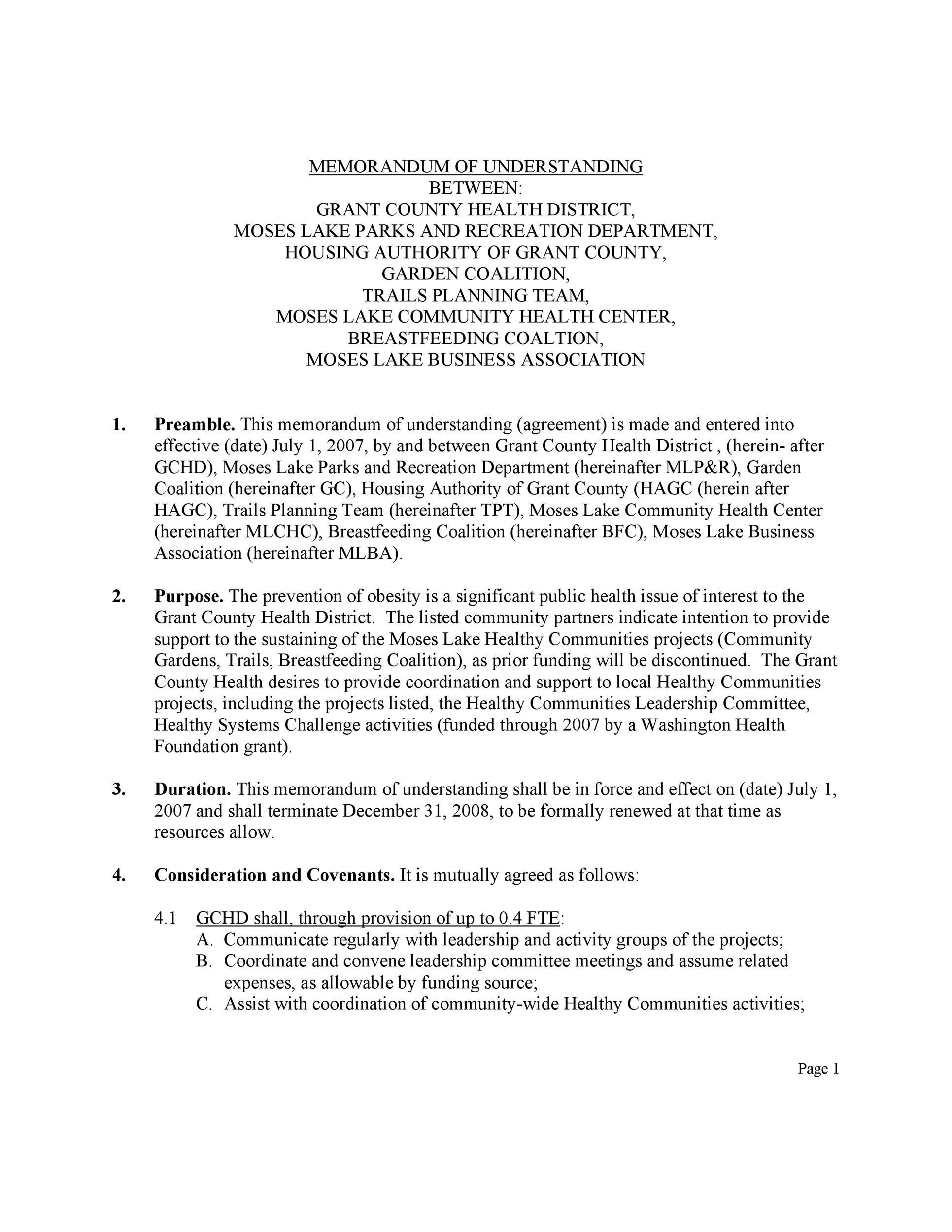Free Memorandum of Understanding Template 12