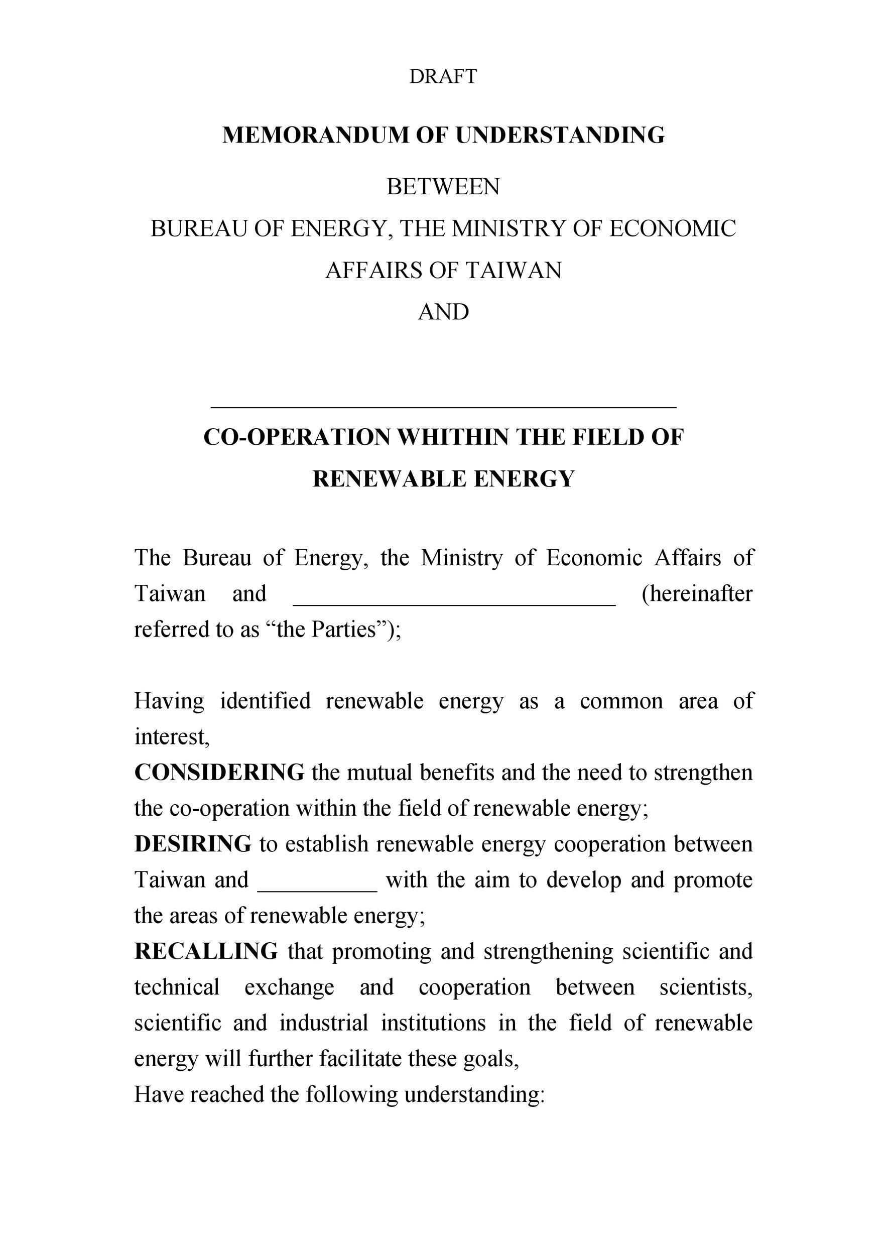 Free Memorandum of Understanding Template 15