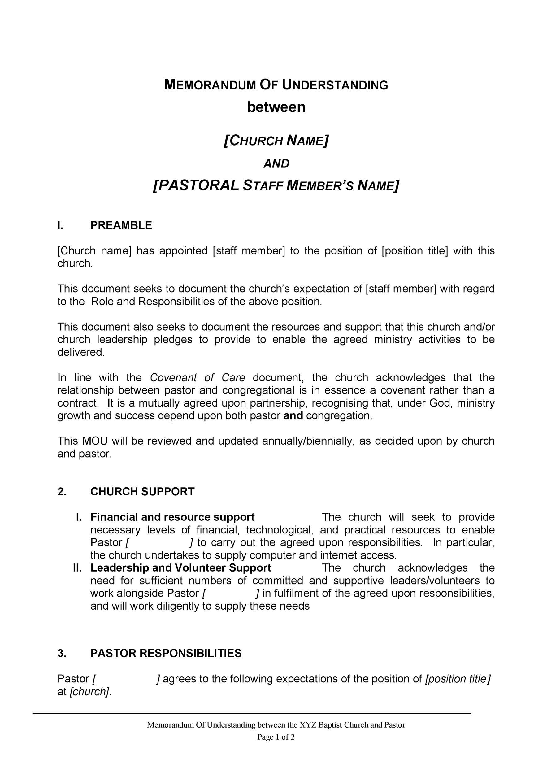 Free Memorandum of Understanding Template 19