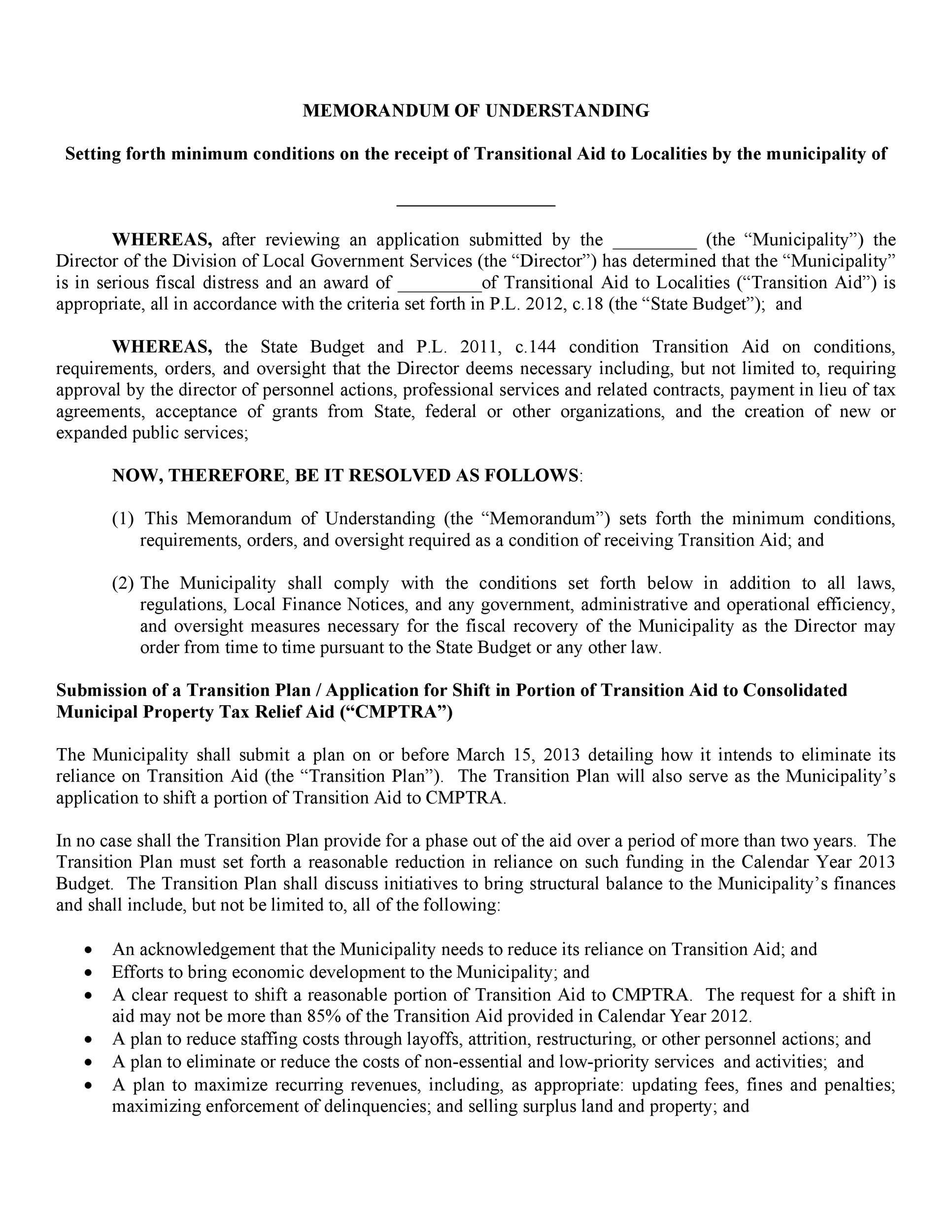 Free Memorandum of Understanding Template 21