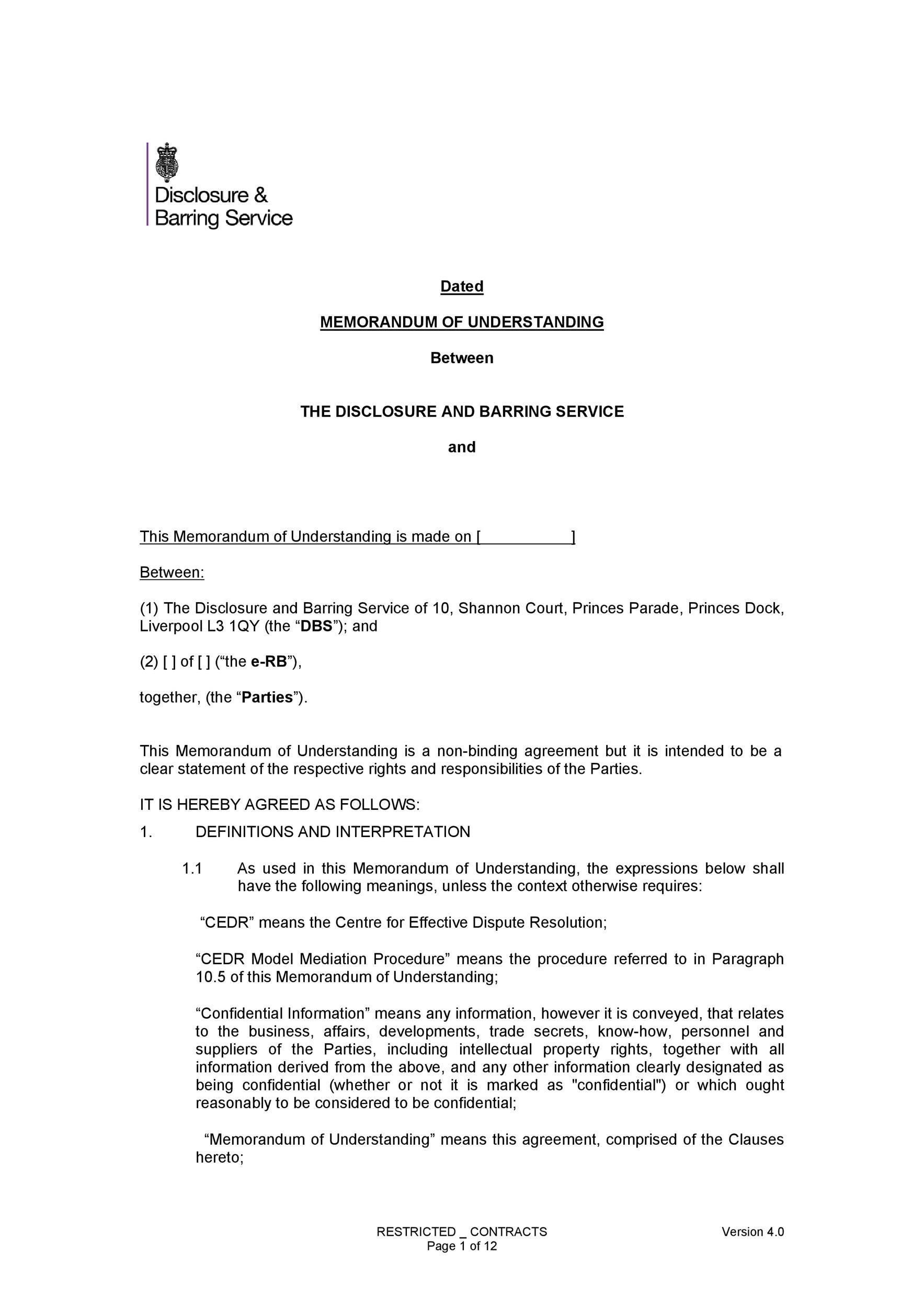 Free Memorandum of Understanding Template 23