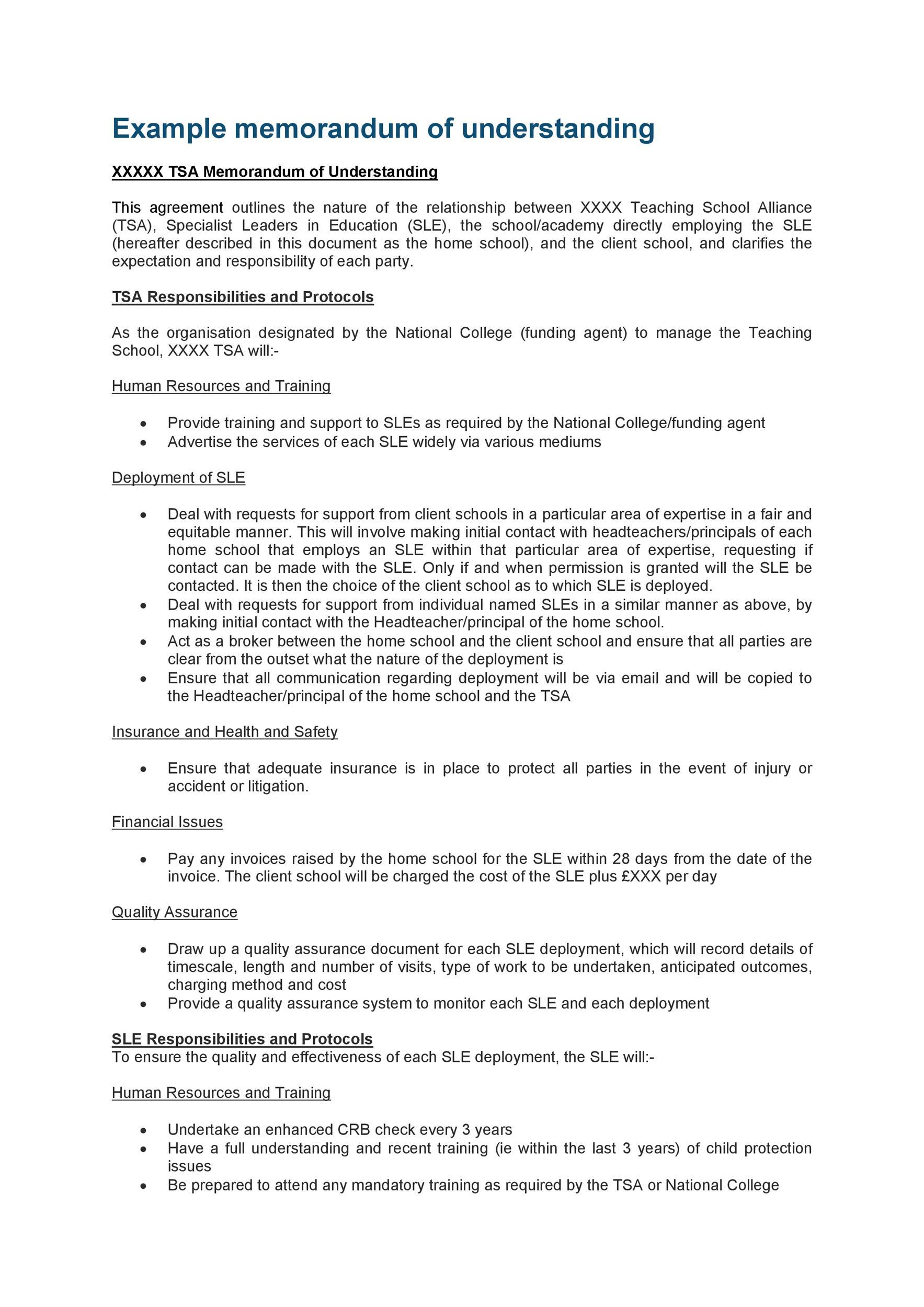 Free Memorandum of Understanding Template 24