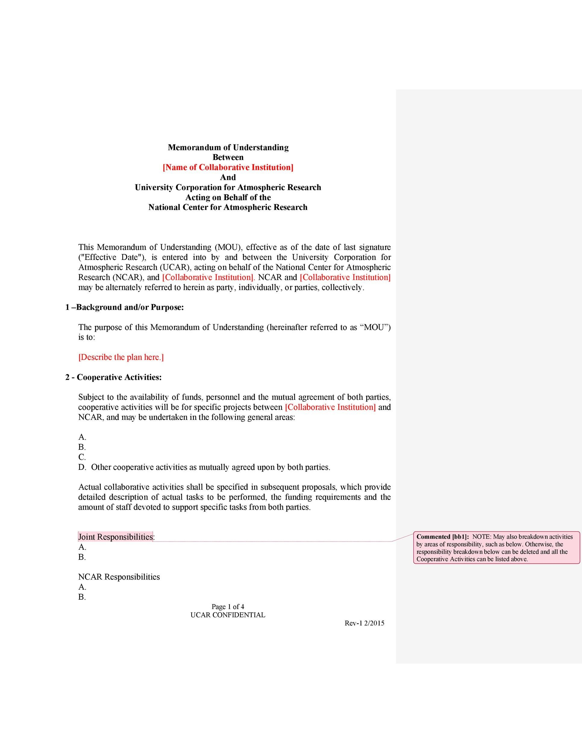 Memorandum Of Agreement Template | 50 Free Memorandum Of Understanding Templates Word Template Lab