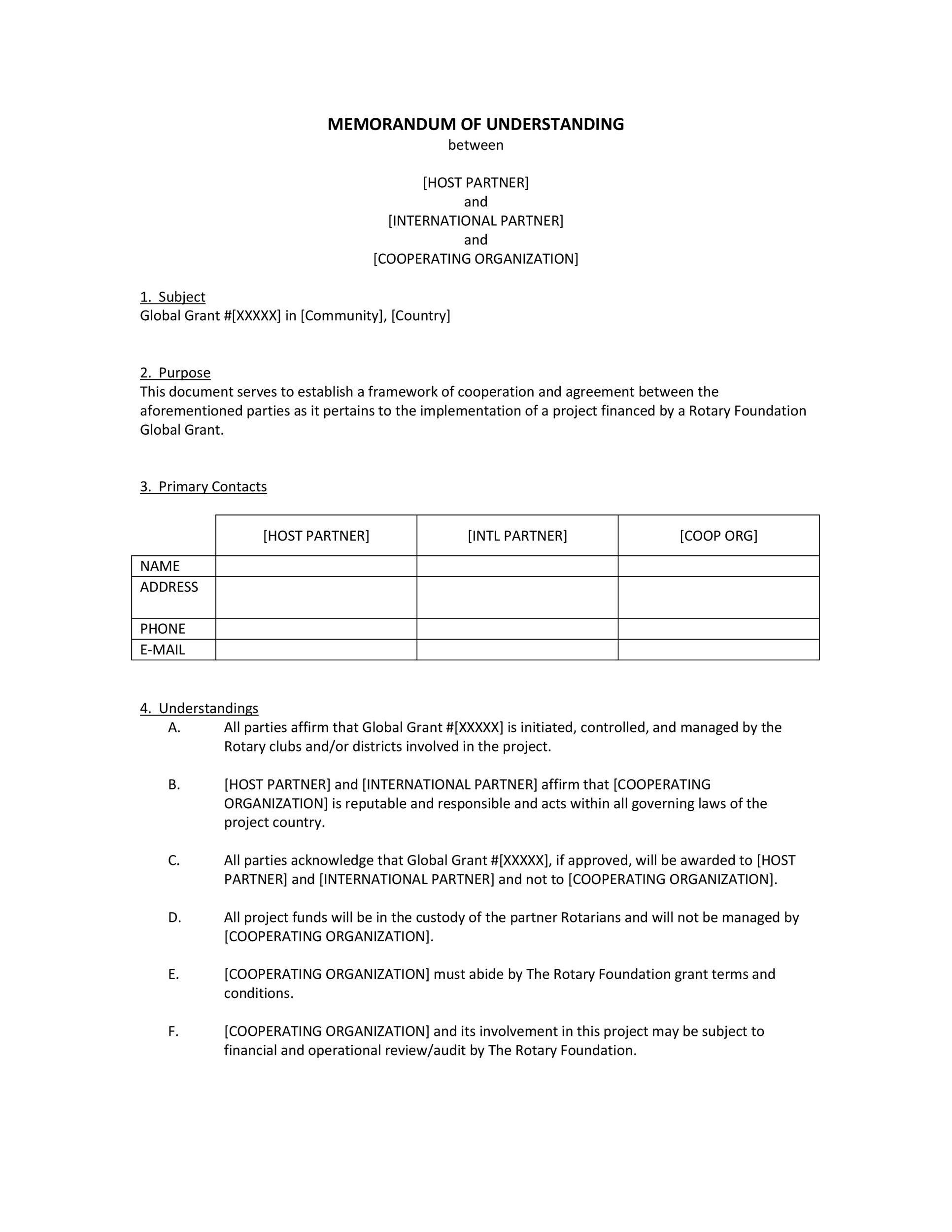 Free Memorandum of Understanding Template 26